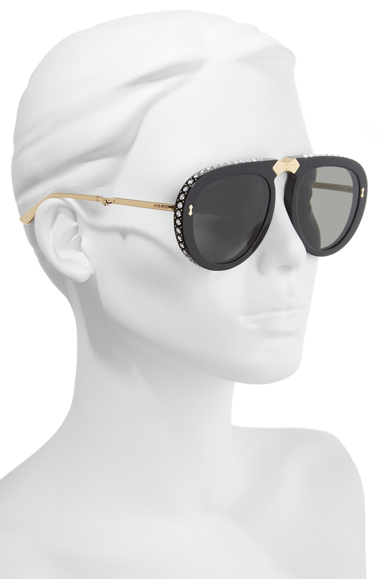 56mm Crystal Studded Aviator Sunglasses,                             Alternate thumbnail 2, color,                             BLACK/ GOLD/ GREY