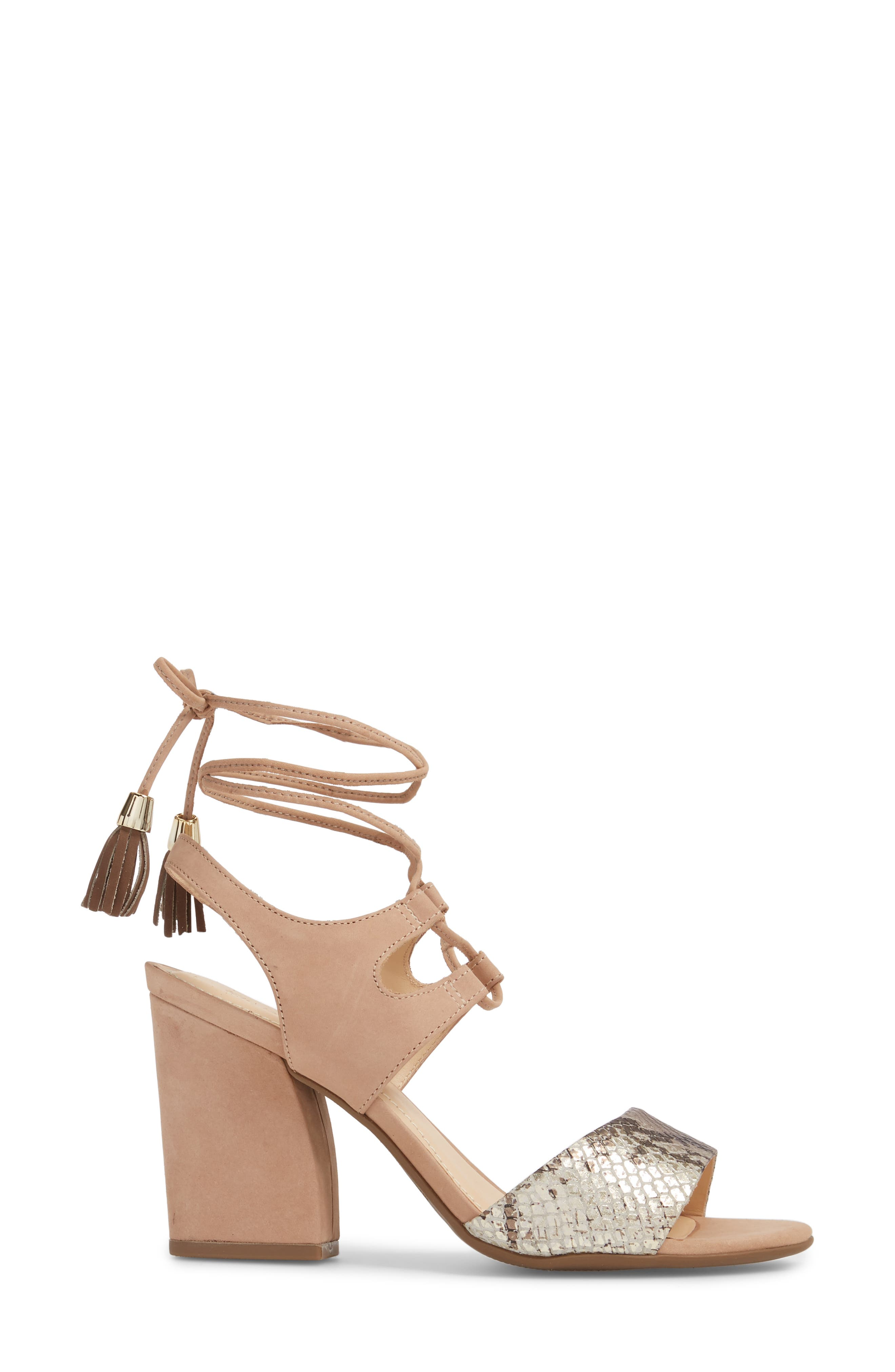 Kaira Ankle Wrap Sandal,                             Alternate thumbnail 3, color,                             SNAKE PRINT LEATHER