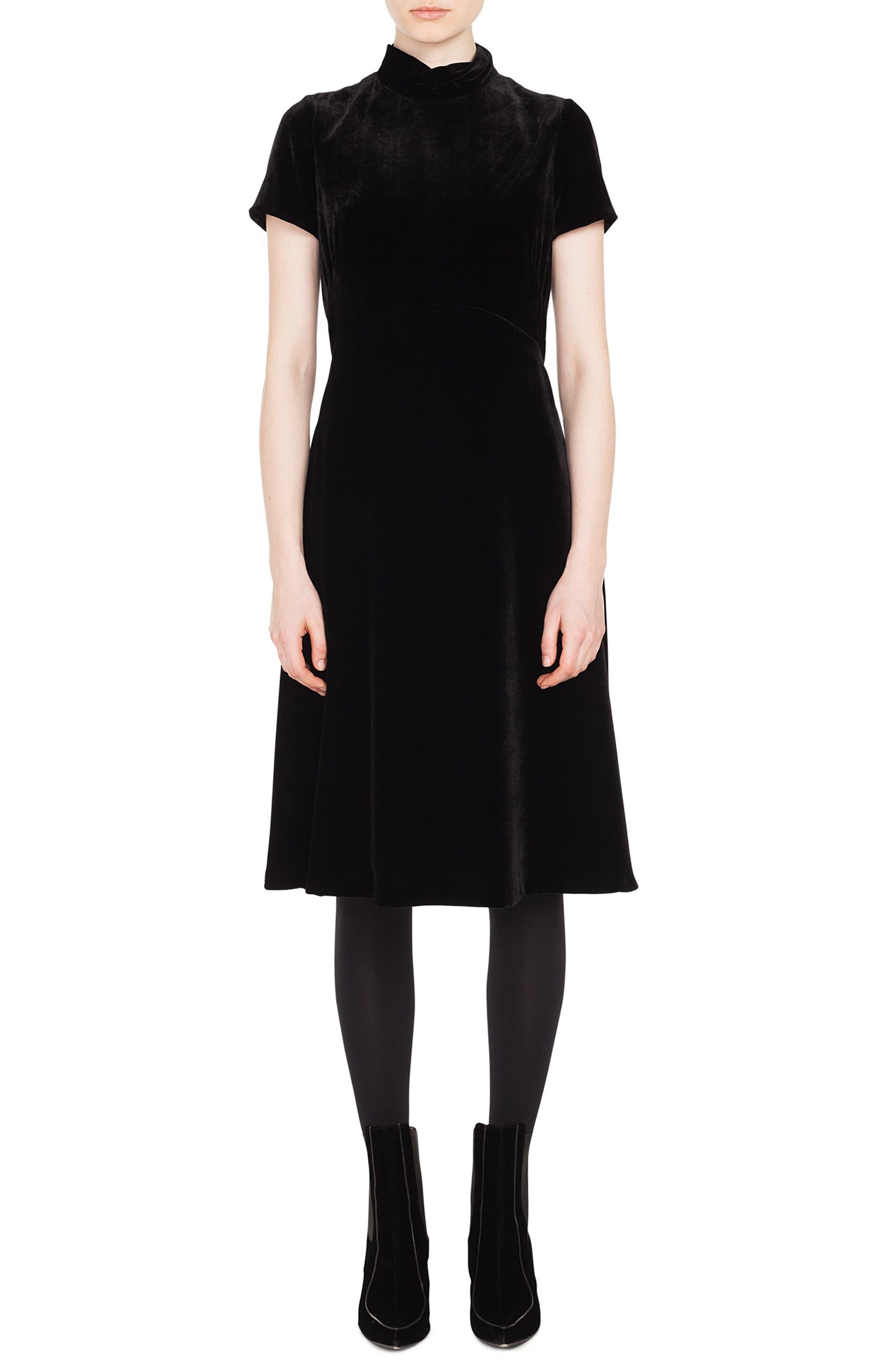 Scuba Velvet Mock Neck Dress,                         Main,                         color, 001