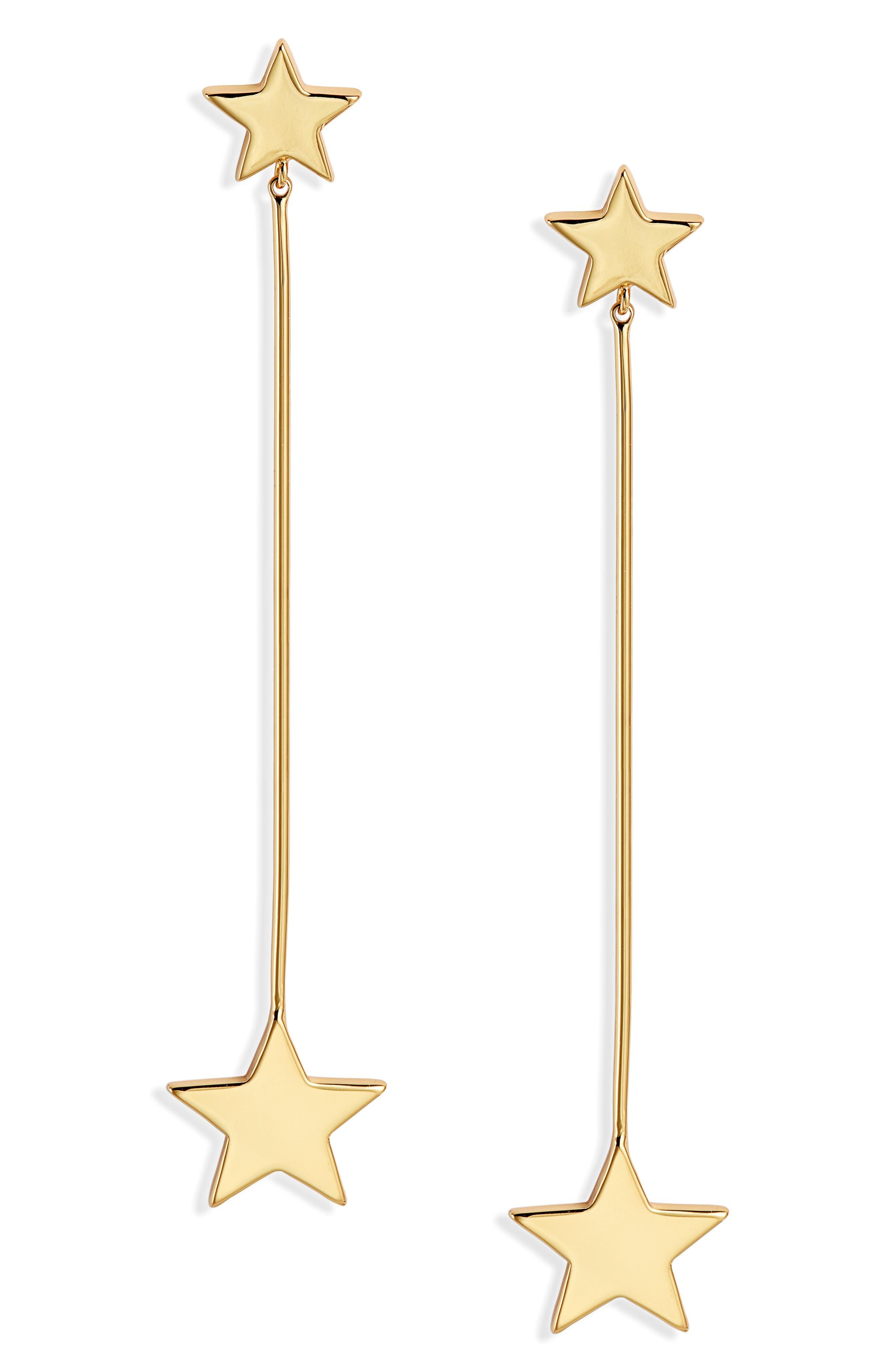 STELLA + RUBY Linear Star Earrings in Gold