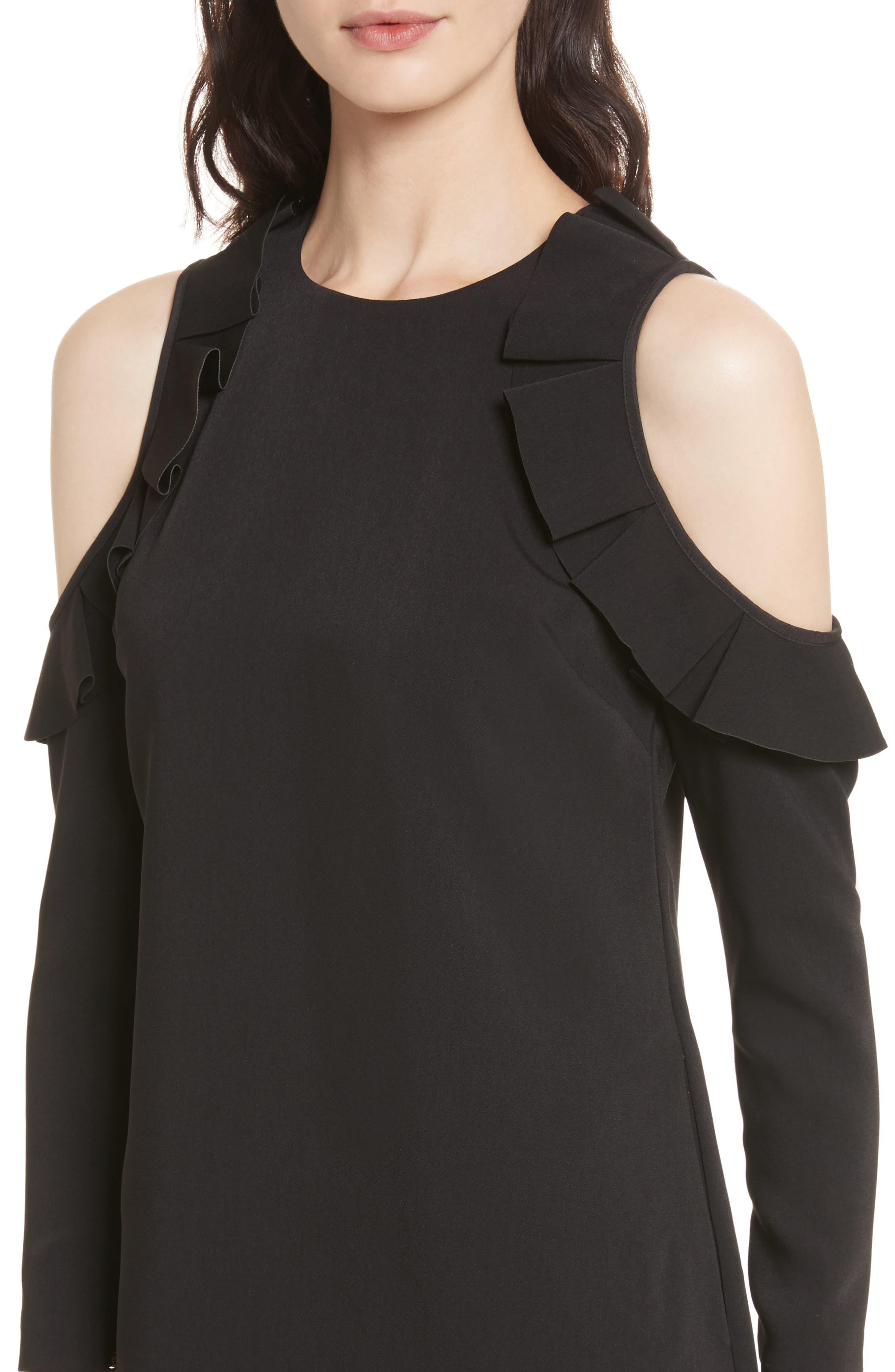 Siiara Frill Cold Shoulder Shift Dress,                             Alternate thumbnail 4, color,                             001