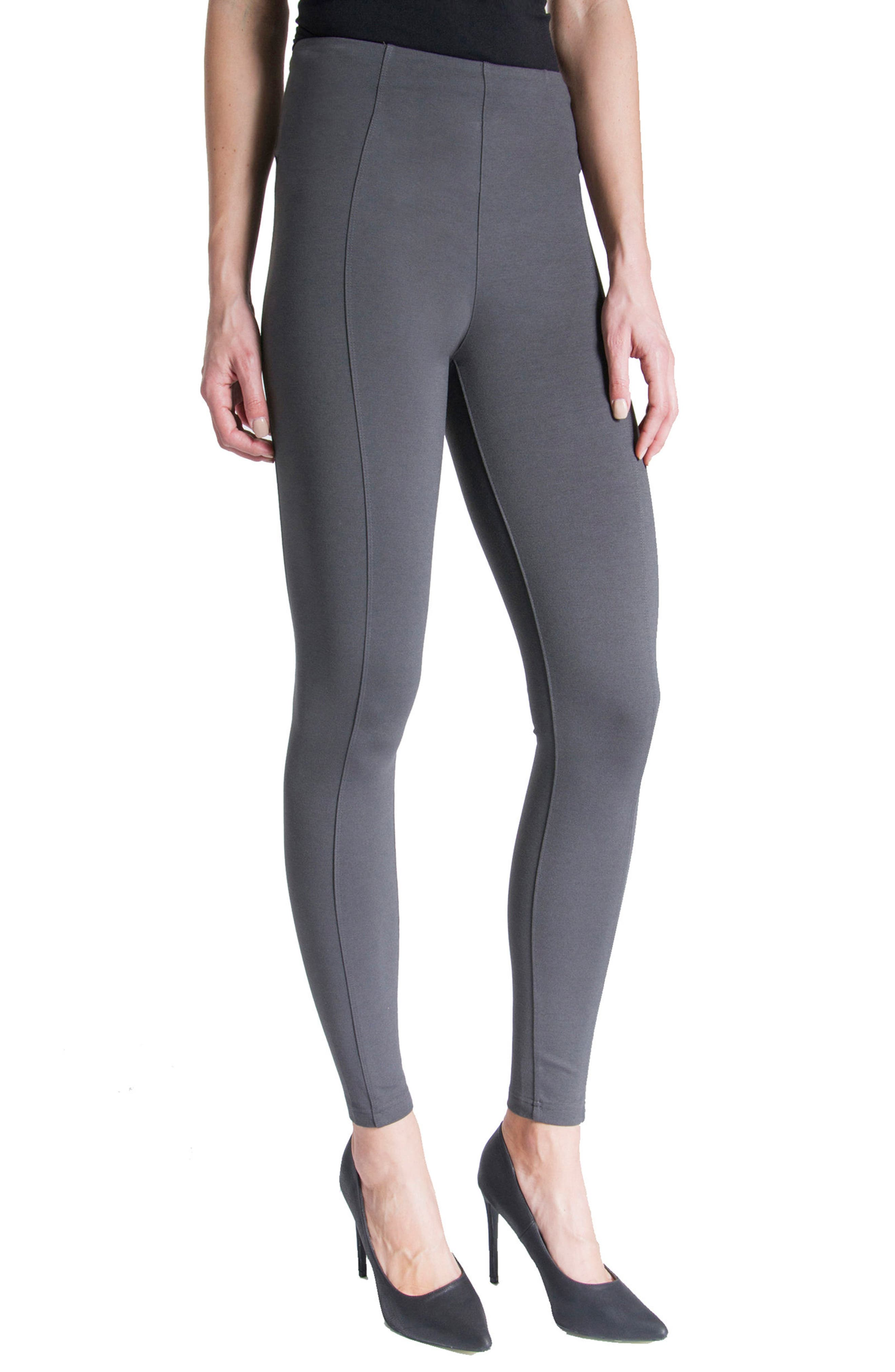 LIVERPOOL,                             Reese Stretch Knit Leggings,                             Alternate thumbnail 3, color,                             MAGNET