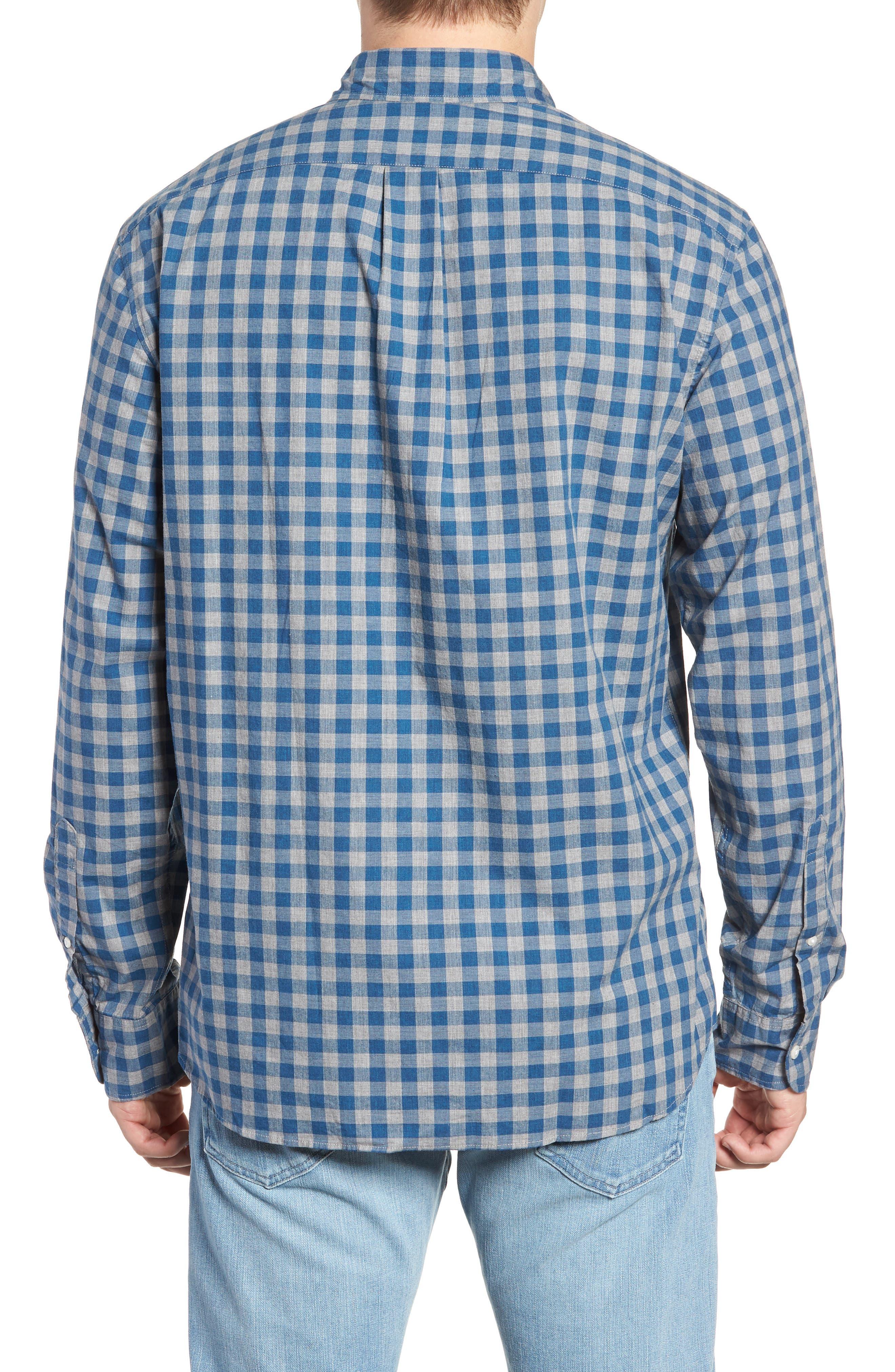 Slim Fit Stretch Secret Wash Heather Gingham Poplin Shirt,                             Alternate thumbnail 3, color,