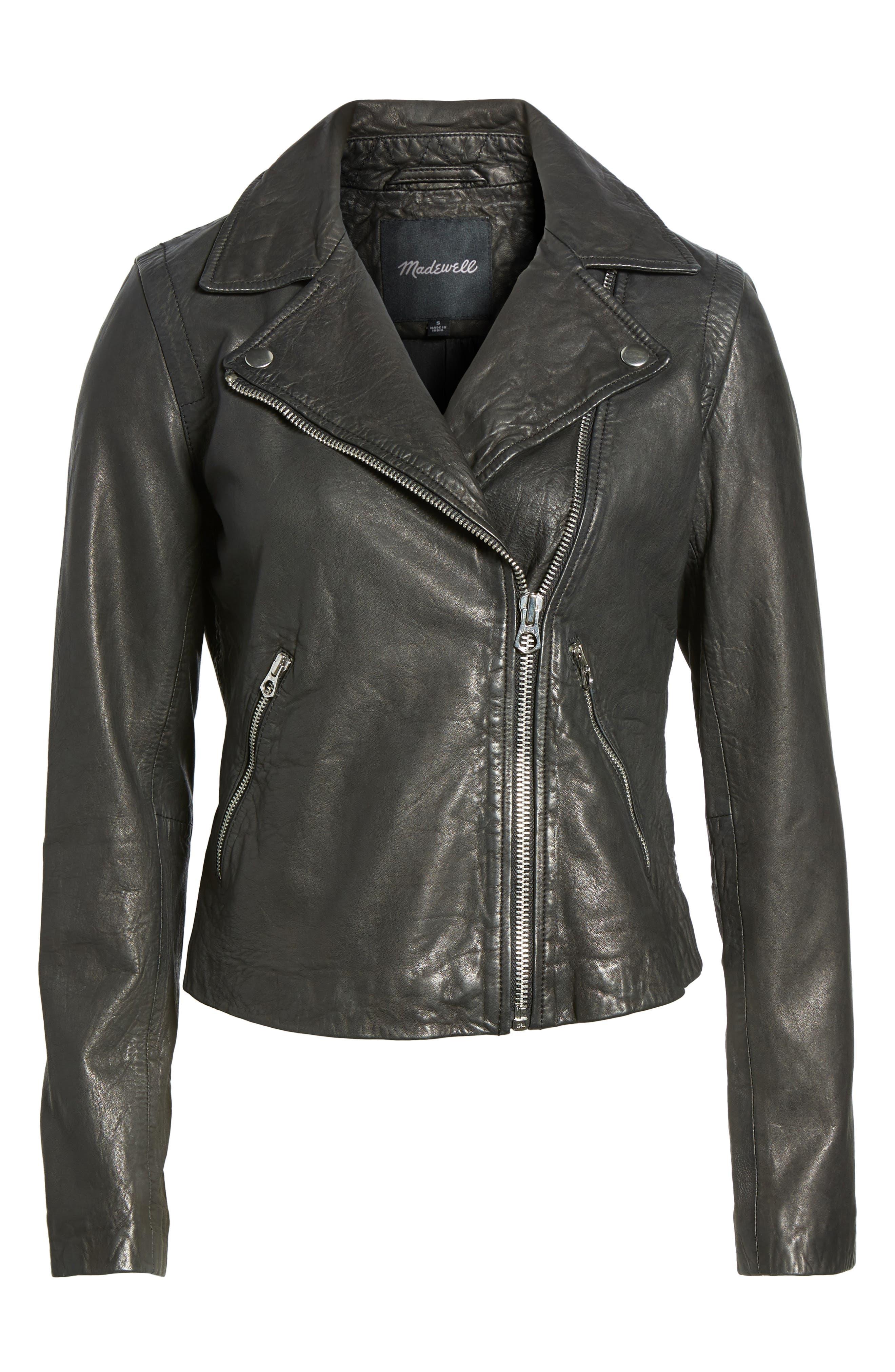 Washed Leather Moto Jacket,                             Alternate thumbnail 5, color,                             TRUE BLACK