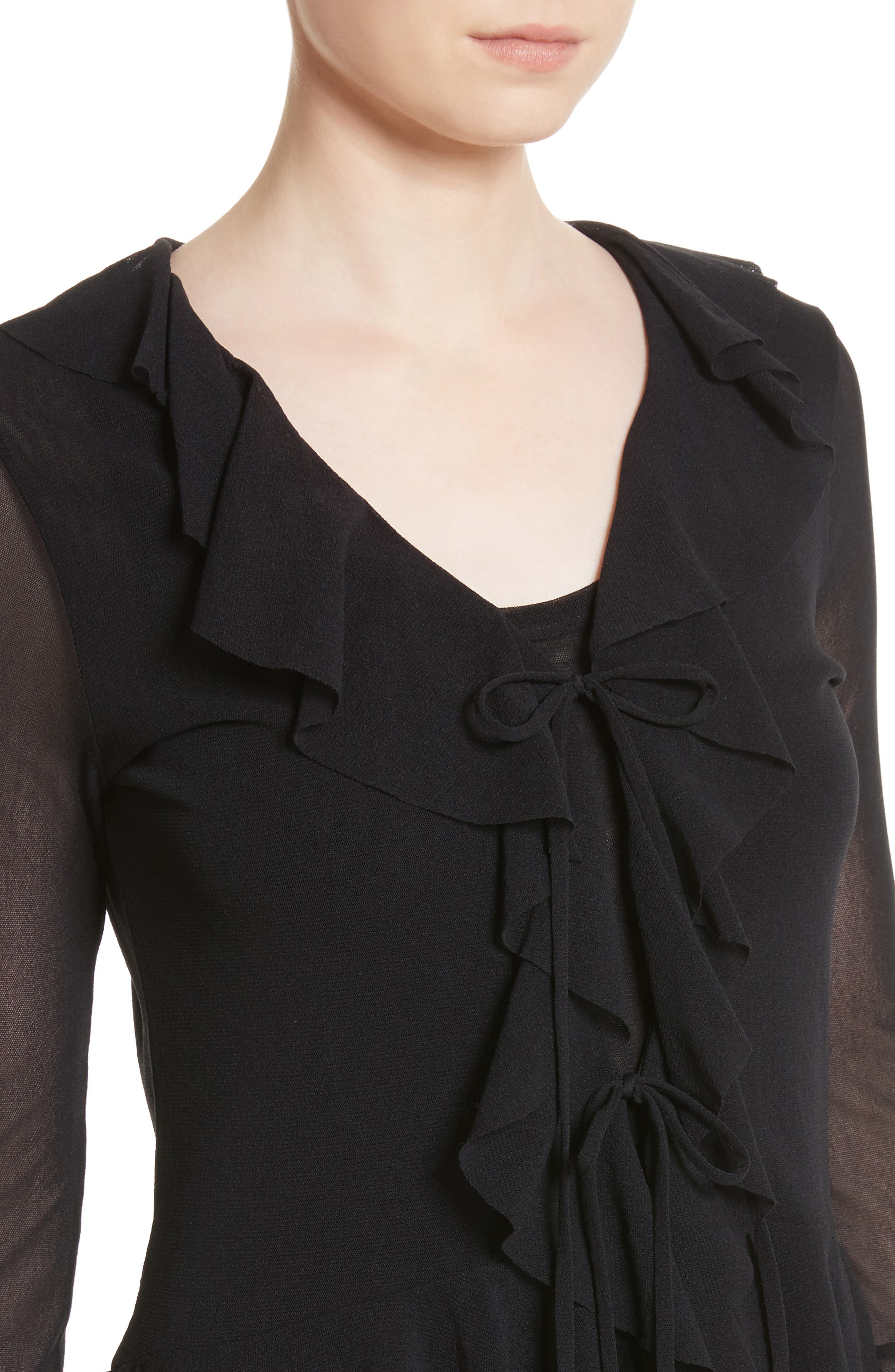 Ruffle Tulle Tie Front Cardigan,                             Alternate thumbnail 4, color,                             001