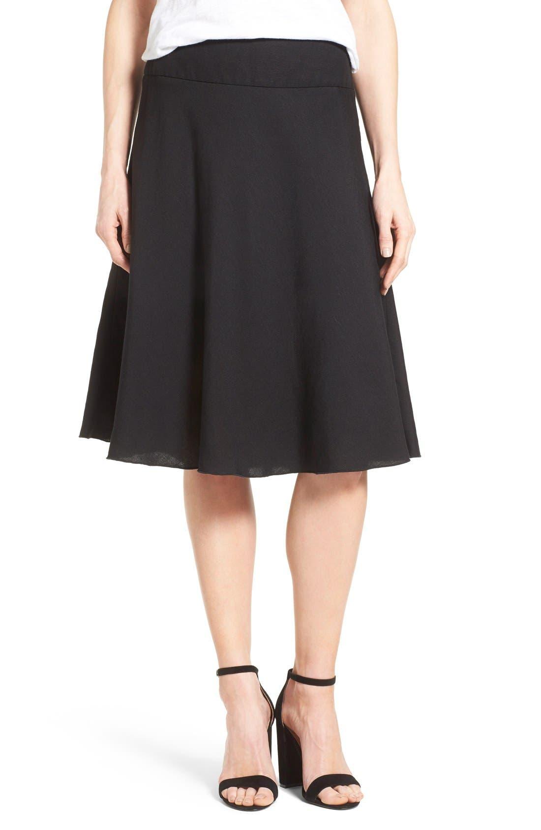 Summer Fling Linen Blend Skirt,                         Main,                         color, BLACK ONYX