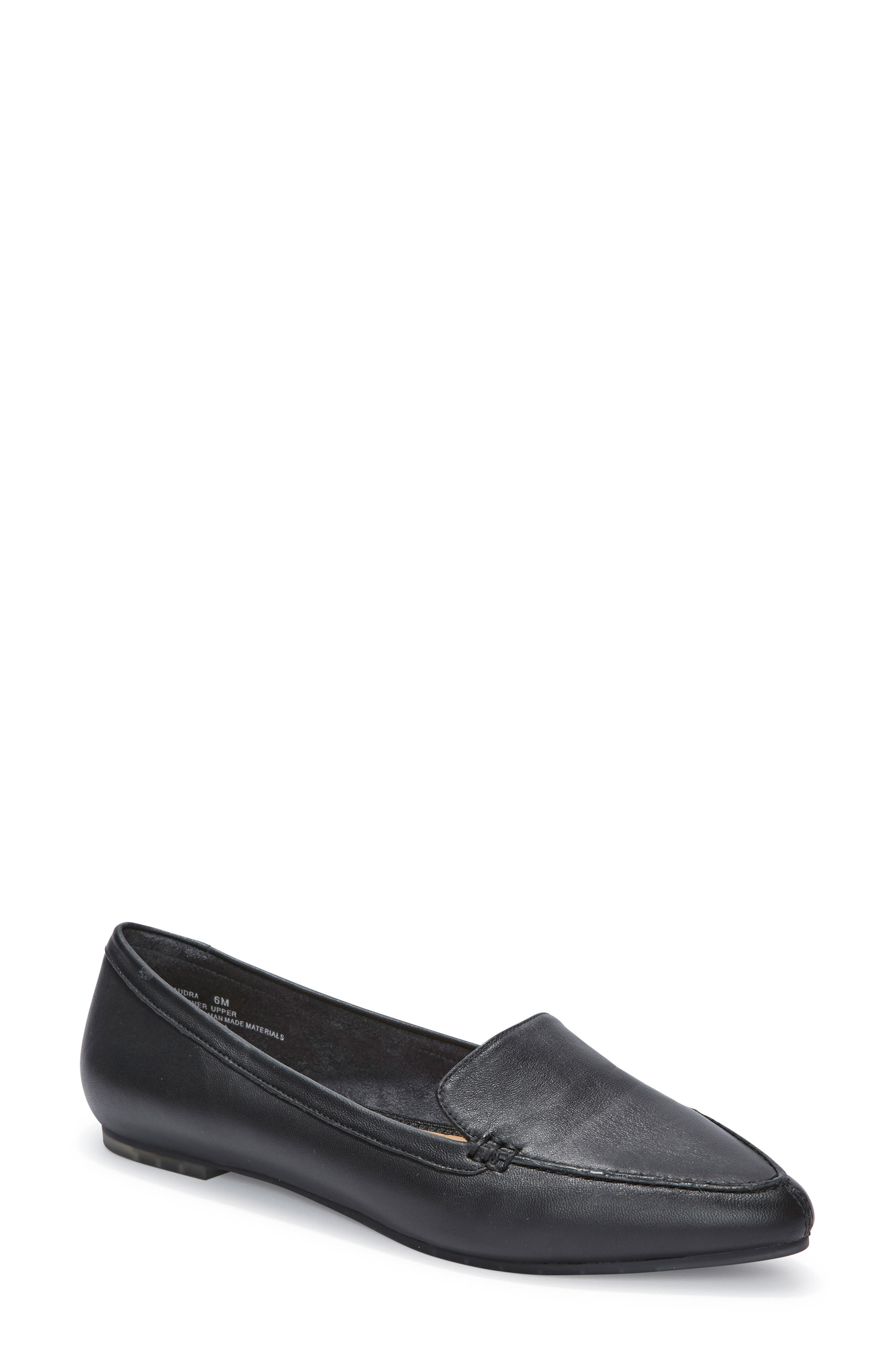 Audra Loafer Flat,                             Main thumbnail 1, color,                             BLACK/ BLACK LEATHER
