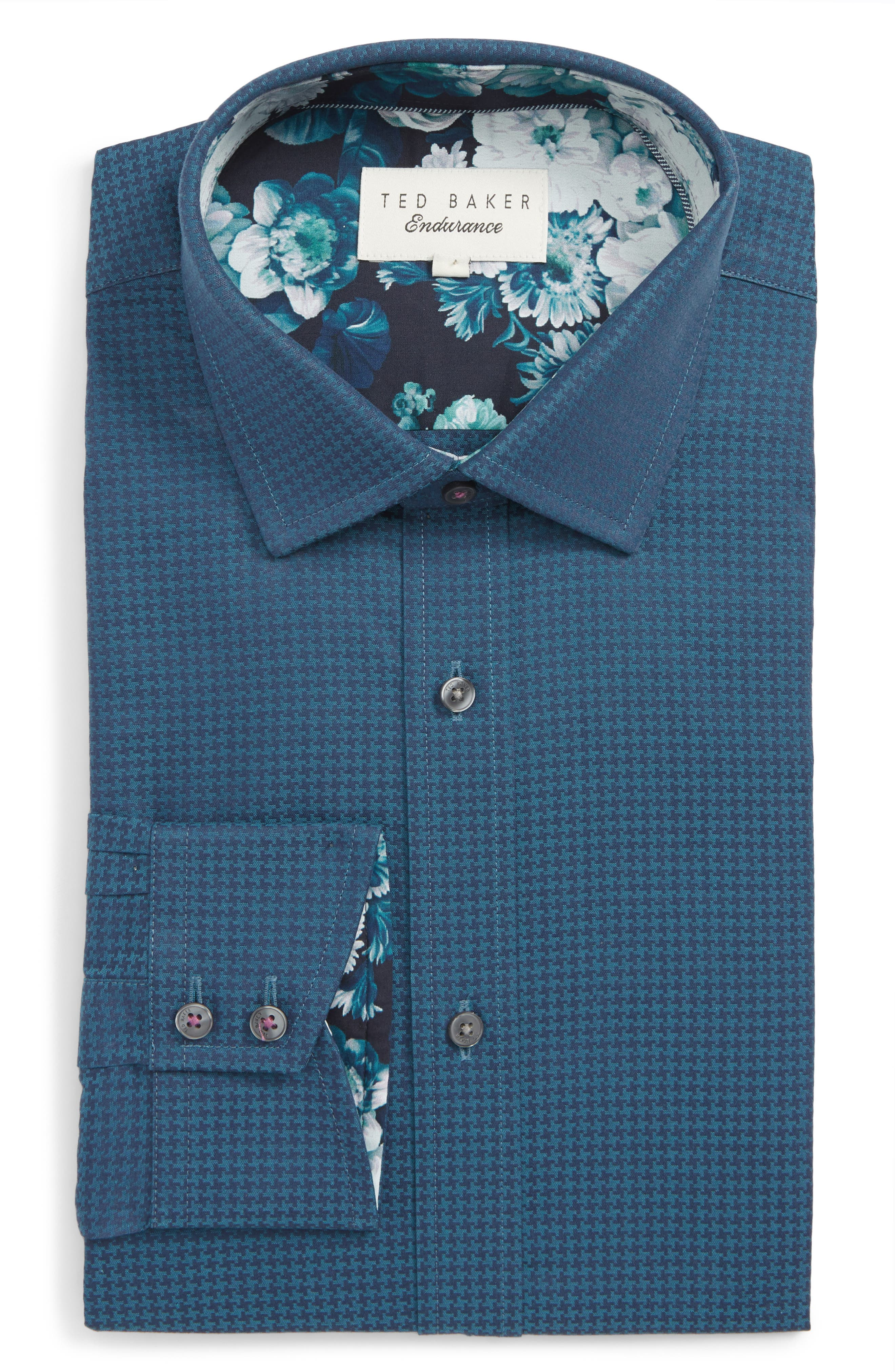 Carmz Trim Fit Houndstooth Dress Shirt,                             Main thumbnail 1, color,                             TEAL/ BLUE