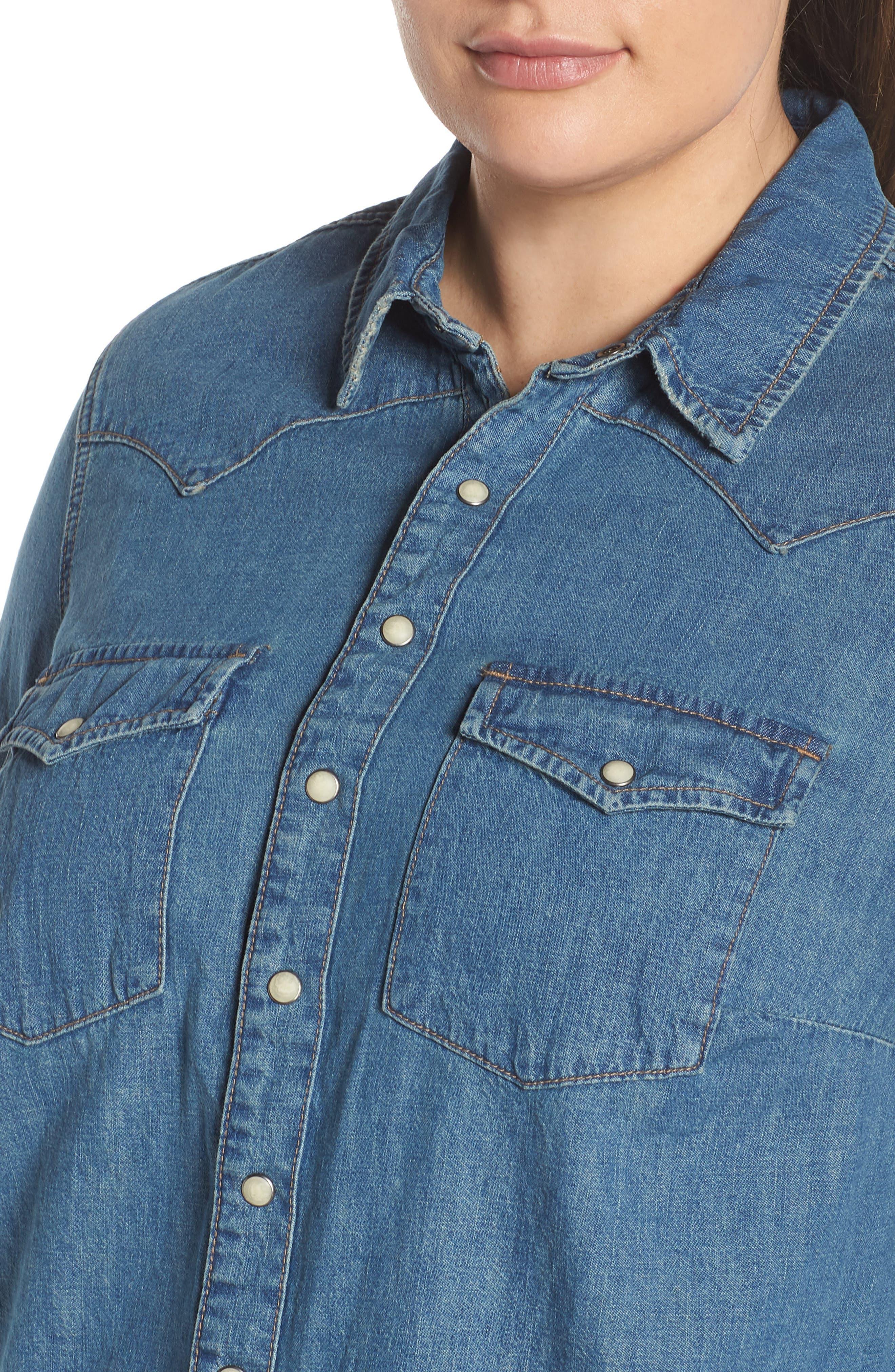 Chambray Western Shirt,                             Alternate thumbnail 4, color,                             CLAY