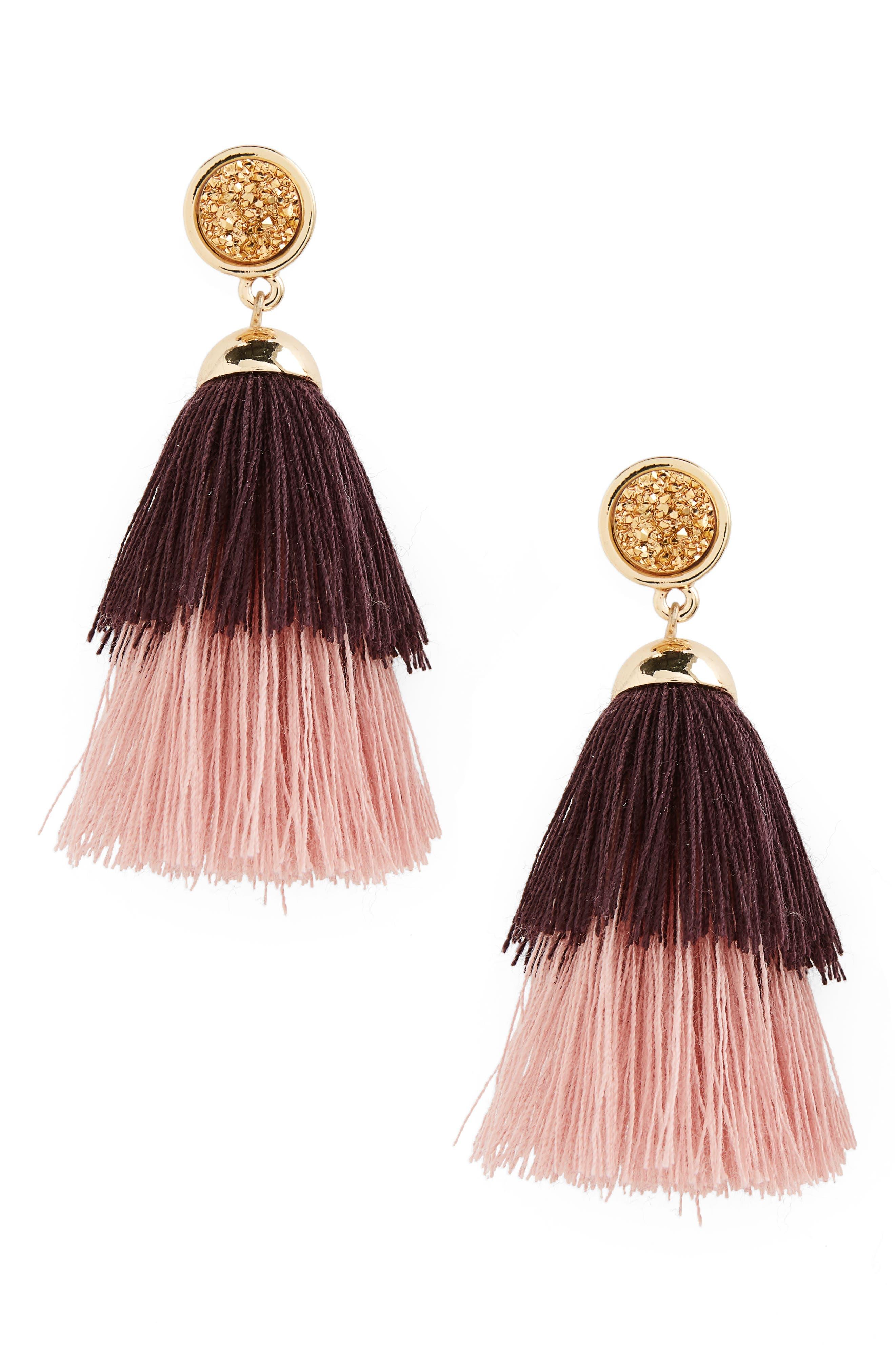 Faux Drusy Tassel Drop Earrings,                             Main thumbnail 1, color,                             500