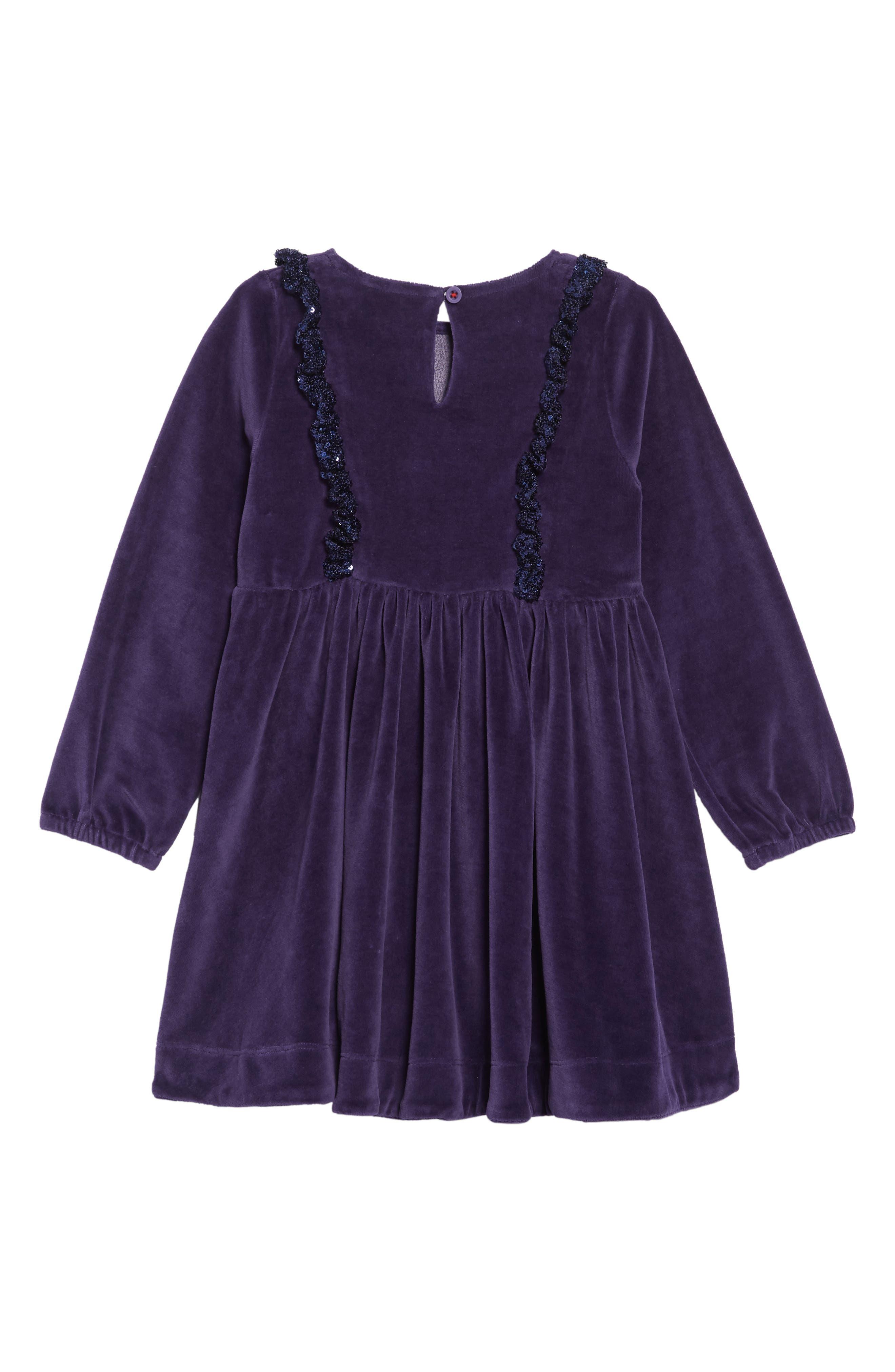 Festive Velour Dress,                             Alternate thumbnail 2, color,                             BLU PRUSSIAN BLUE