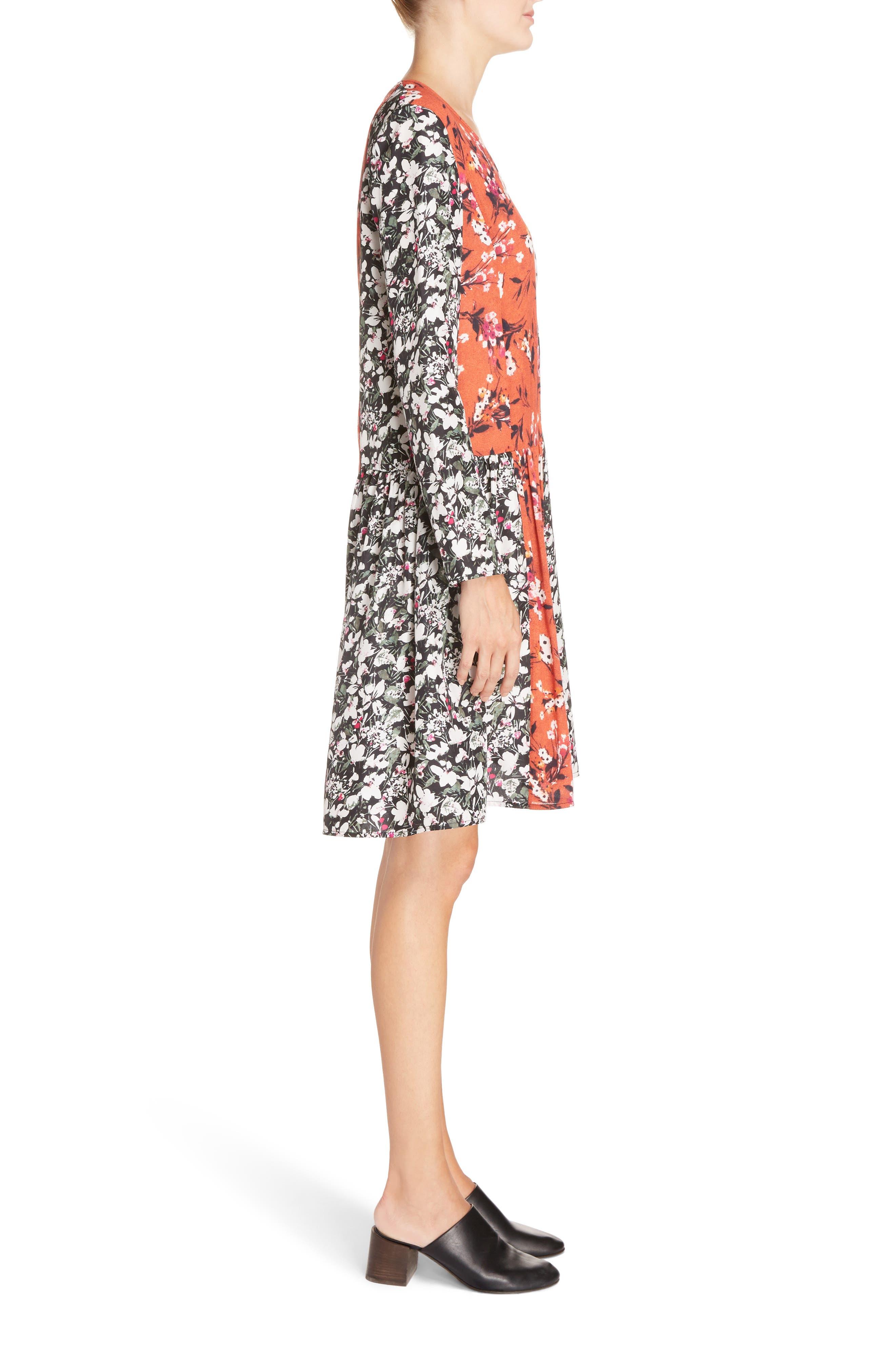 Jorny Print Shift Dress,                             Alternate thumbnail 3, color,                             001