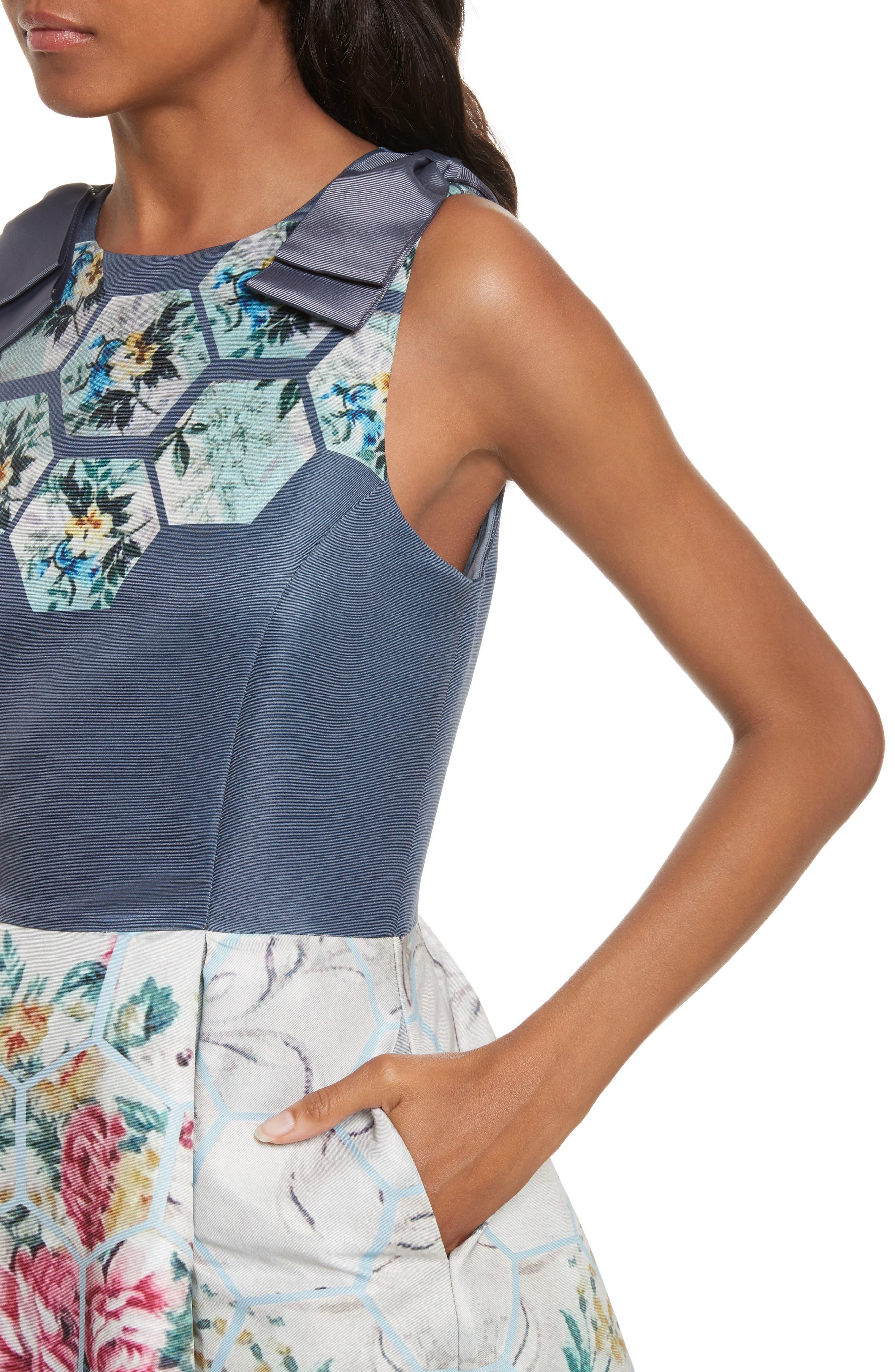 Bow Skater Dress,                             Alternate thumbnail 4, color,