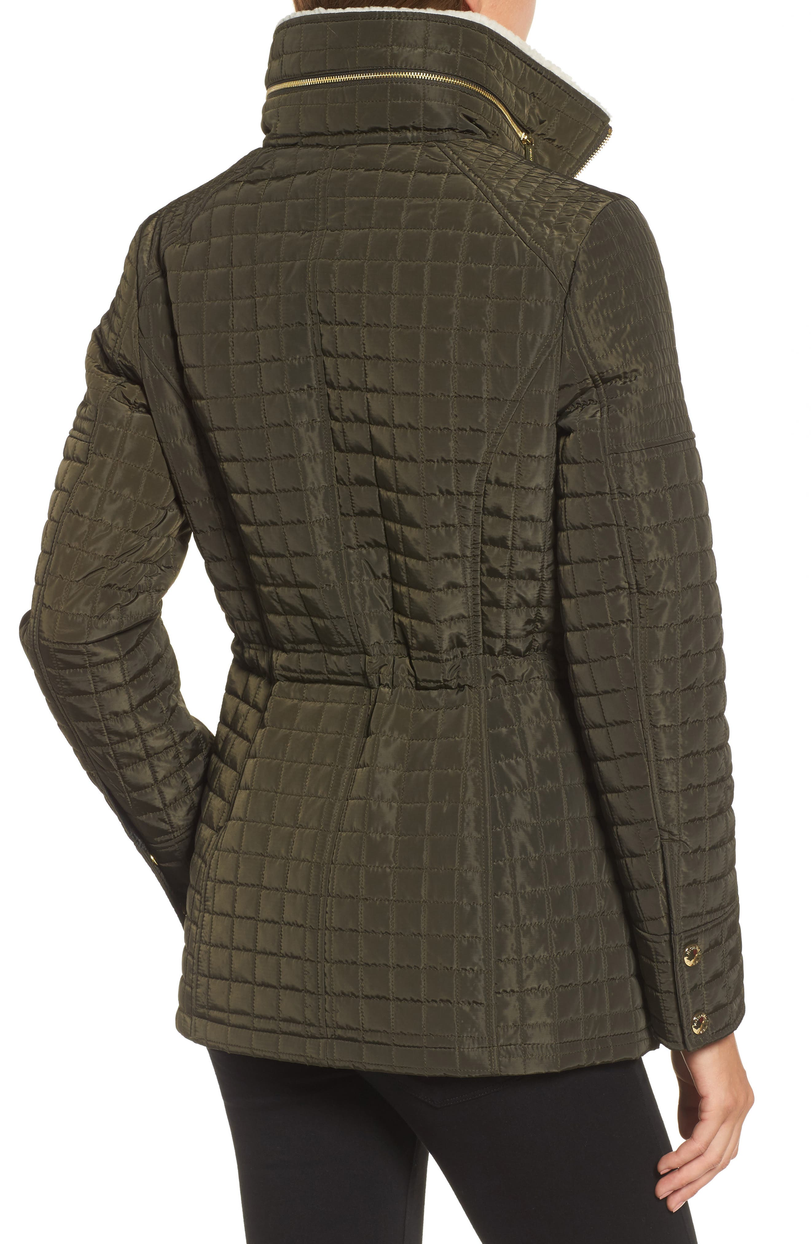 Water Resistant Quilted Anorak with Faux Shearling Trim,                             Alternate thumbnail 2, color,                             377