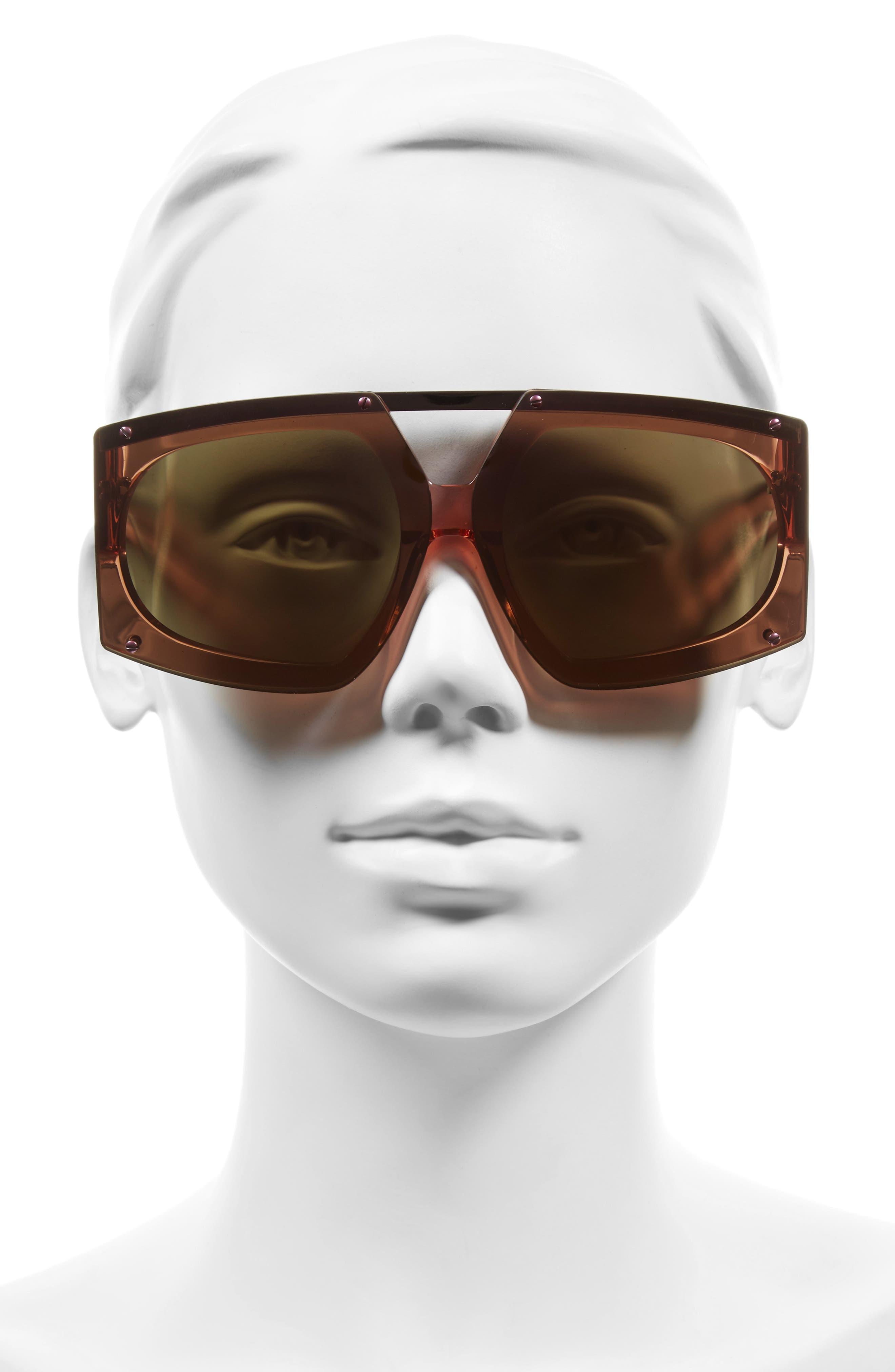70mm Mirrored Oversized Sunglasses,                             Alternate thumbnail 6, color,
