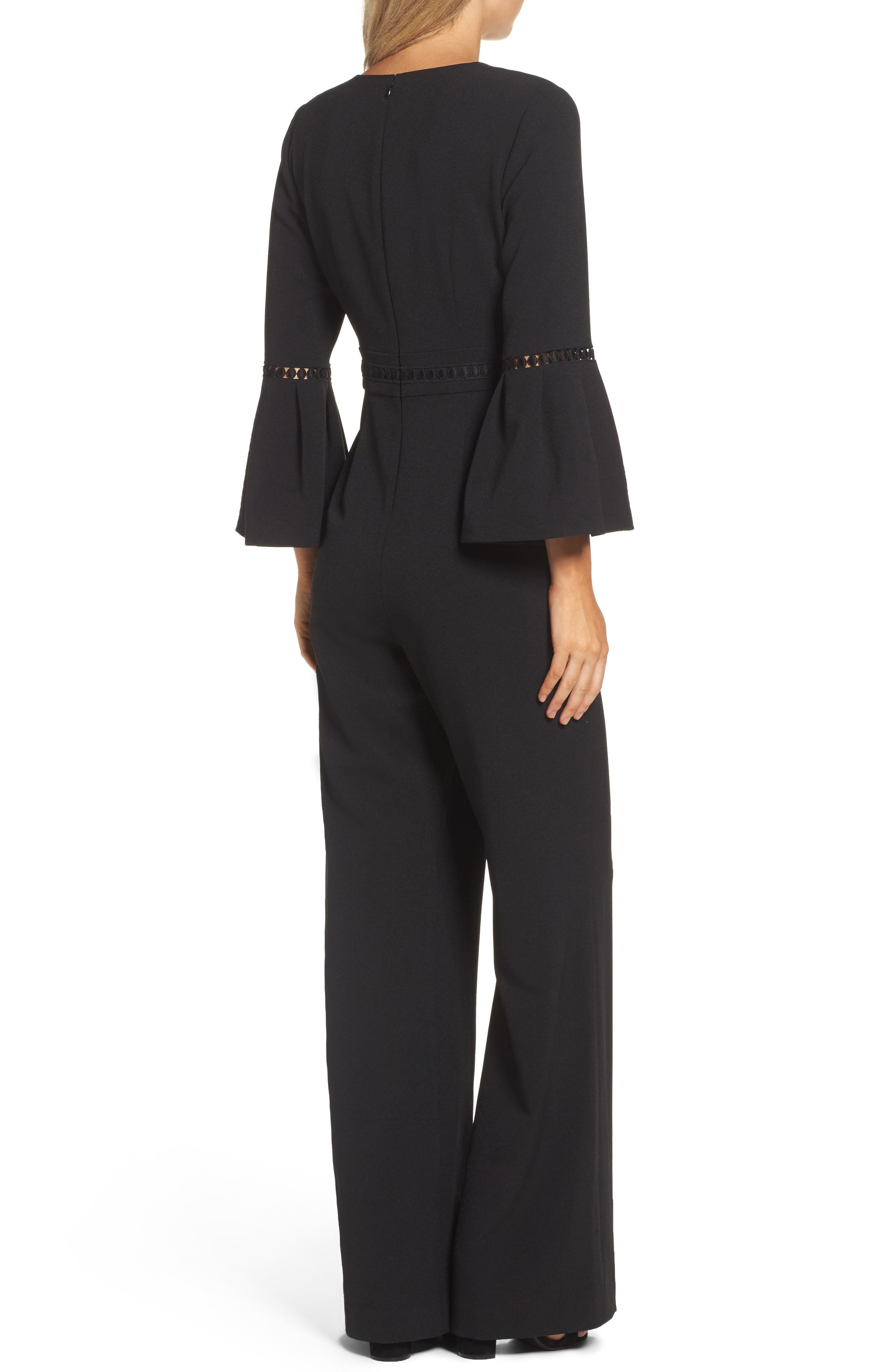 Bell Sleeve Jumpsuit,                             Alternate thumbnail 2, color,                             BLACK