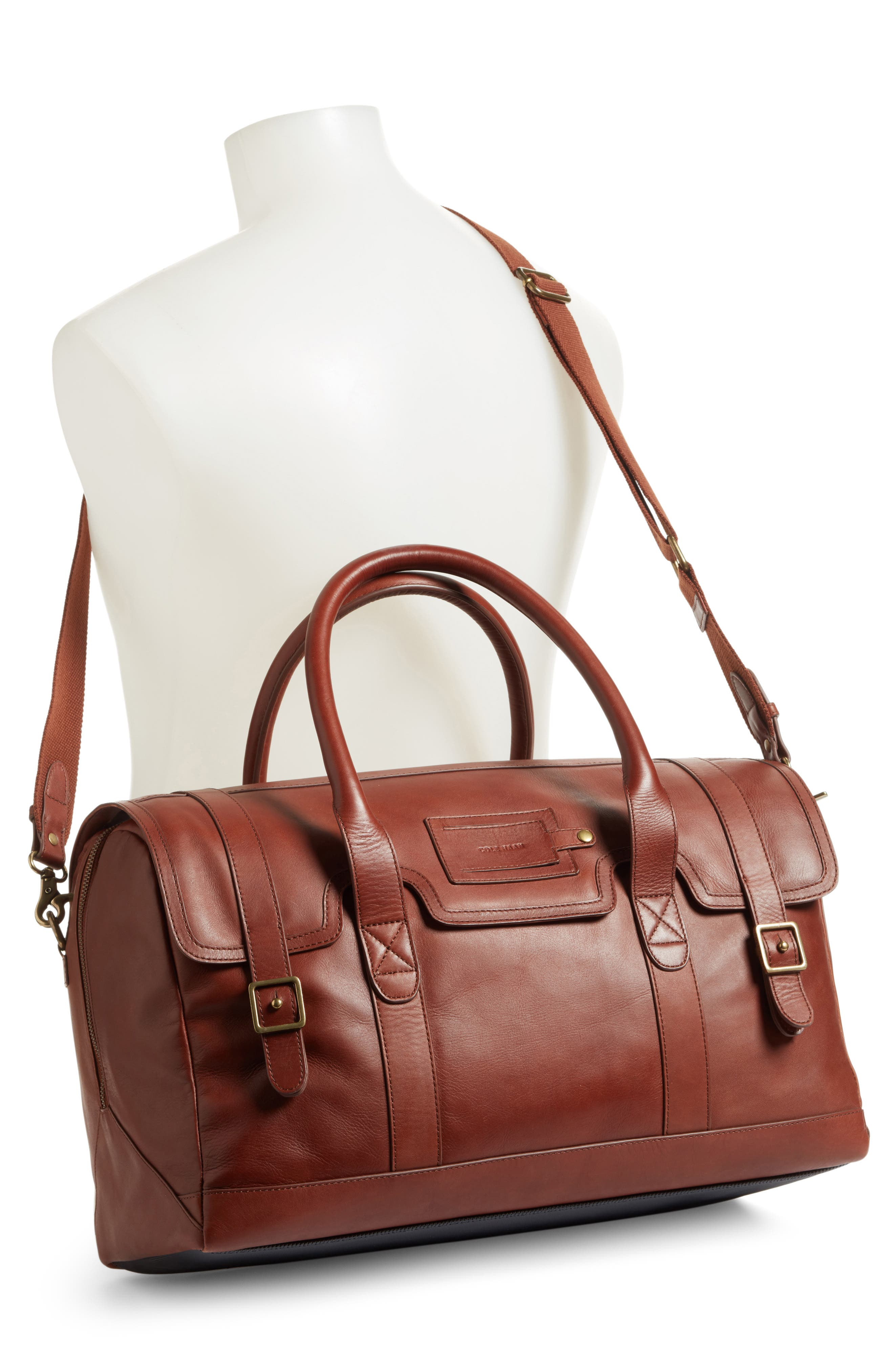 Leather Duffel Bag,                             Alternate thumbnail 4, color,