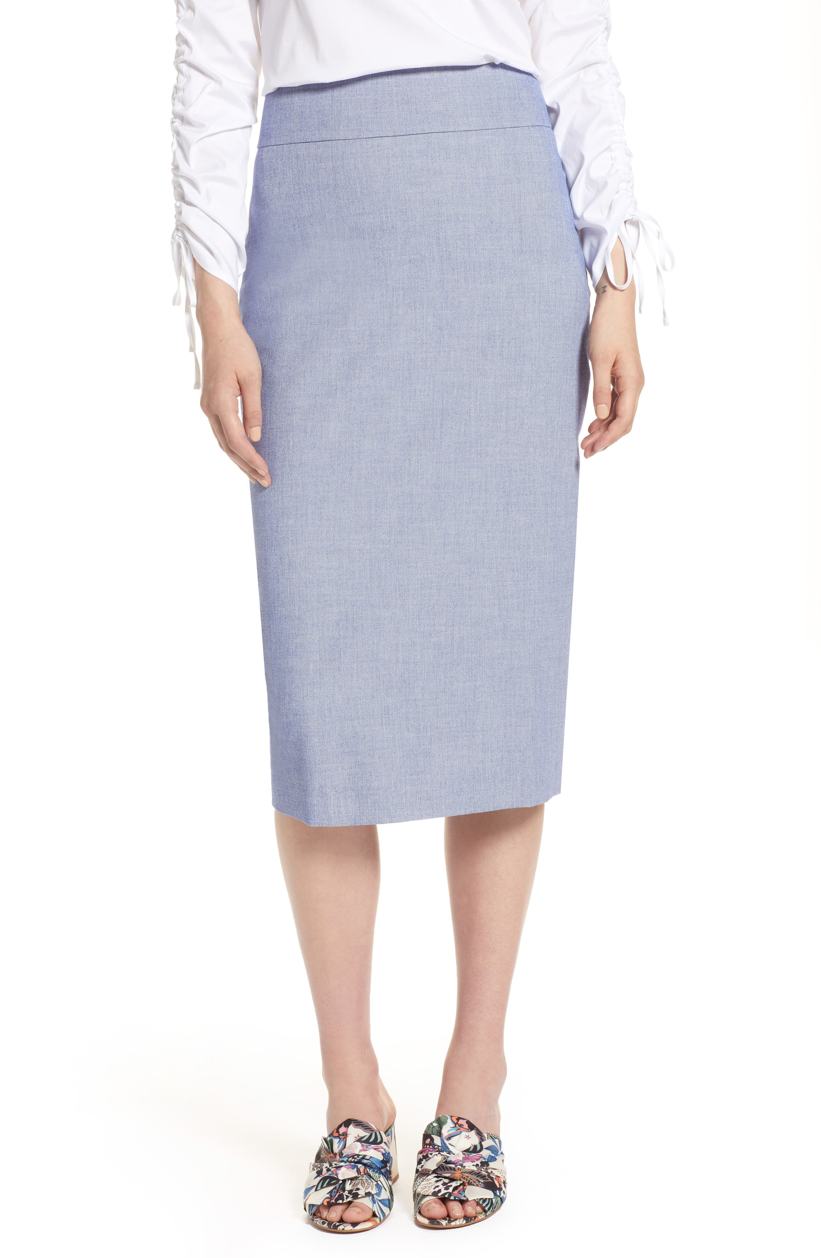 High Waist Chambray Skirt,                         Main,                         color, 400