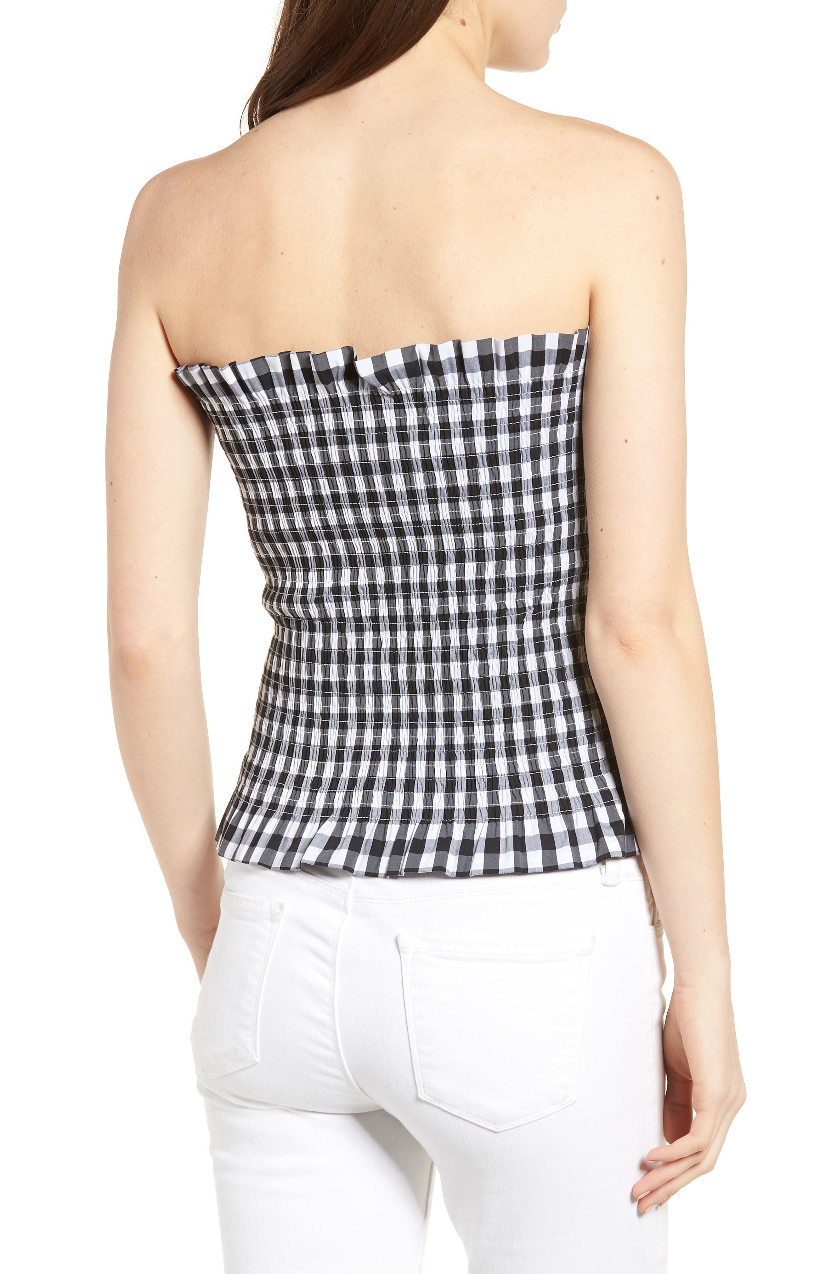Bishop + Young Gingham Tube Top,                             Alternate thumbnail 2, color,                             001