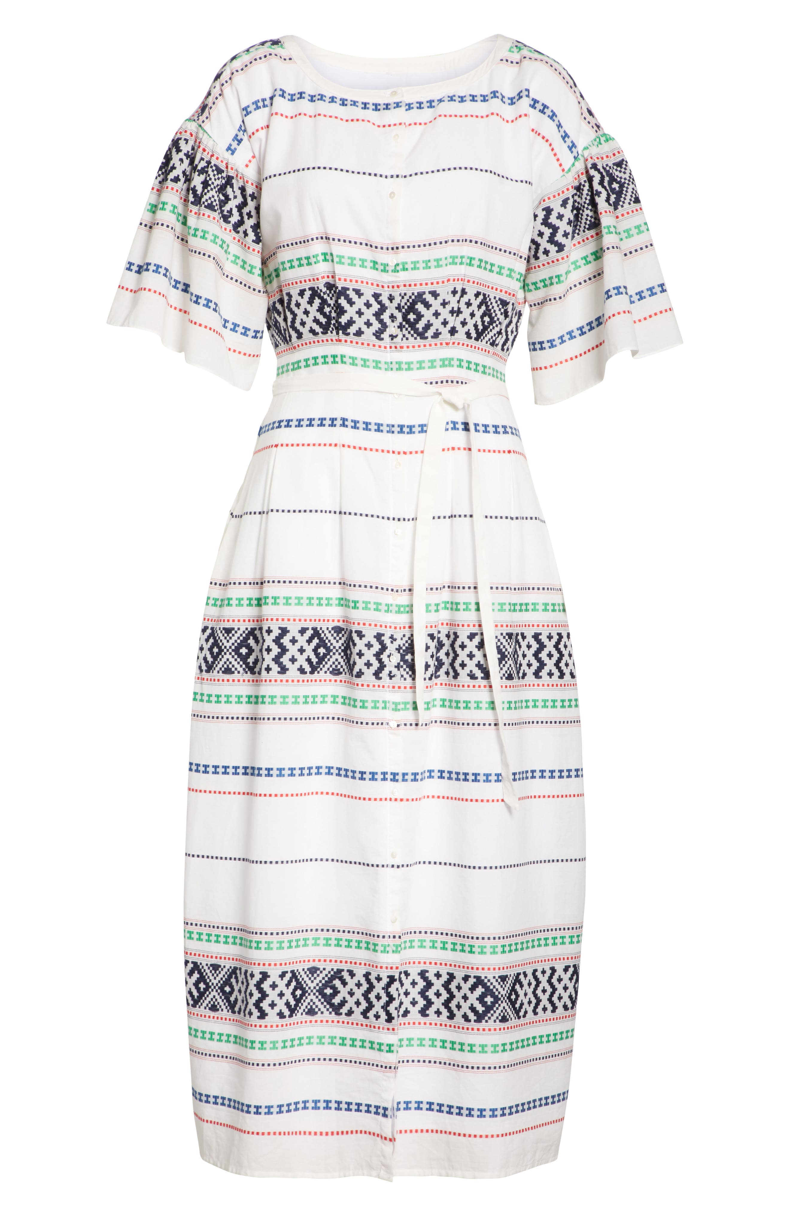 Lilianaly Embroidered Midi Dress,                             Alternate thumbnail 7, color,                             PORCELAIN
