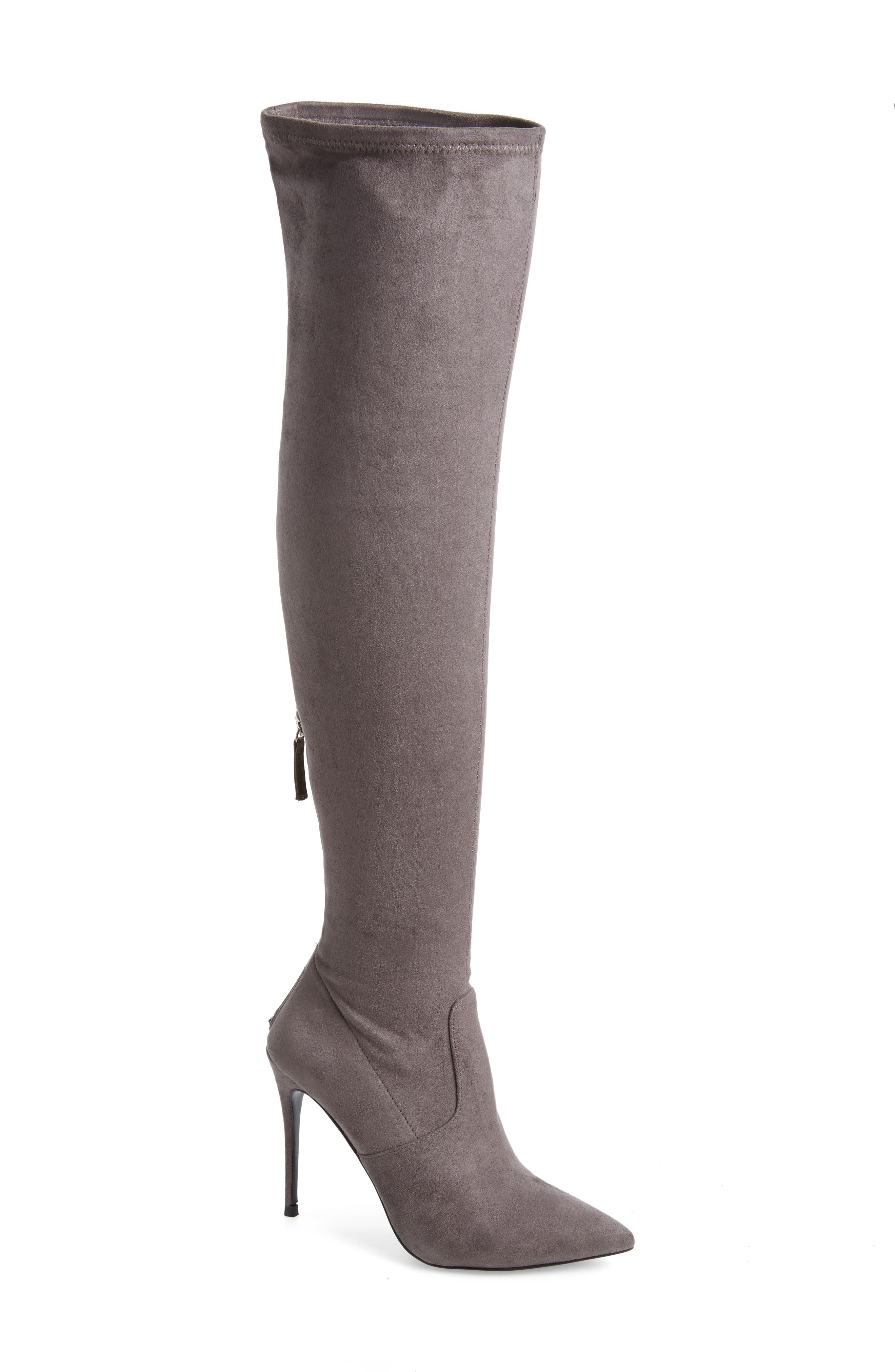 Devine Over the Knee Boot,                             Main thumbnail 1, color,                             GREY SUEDE