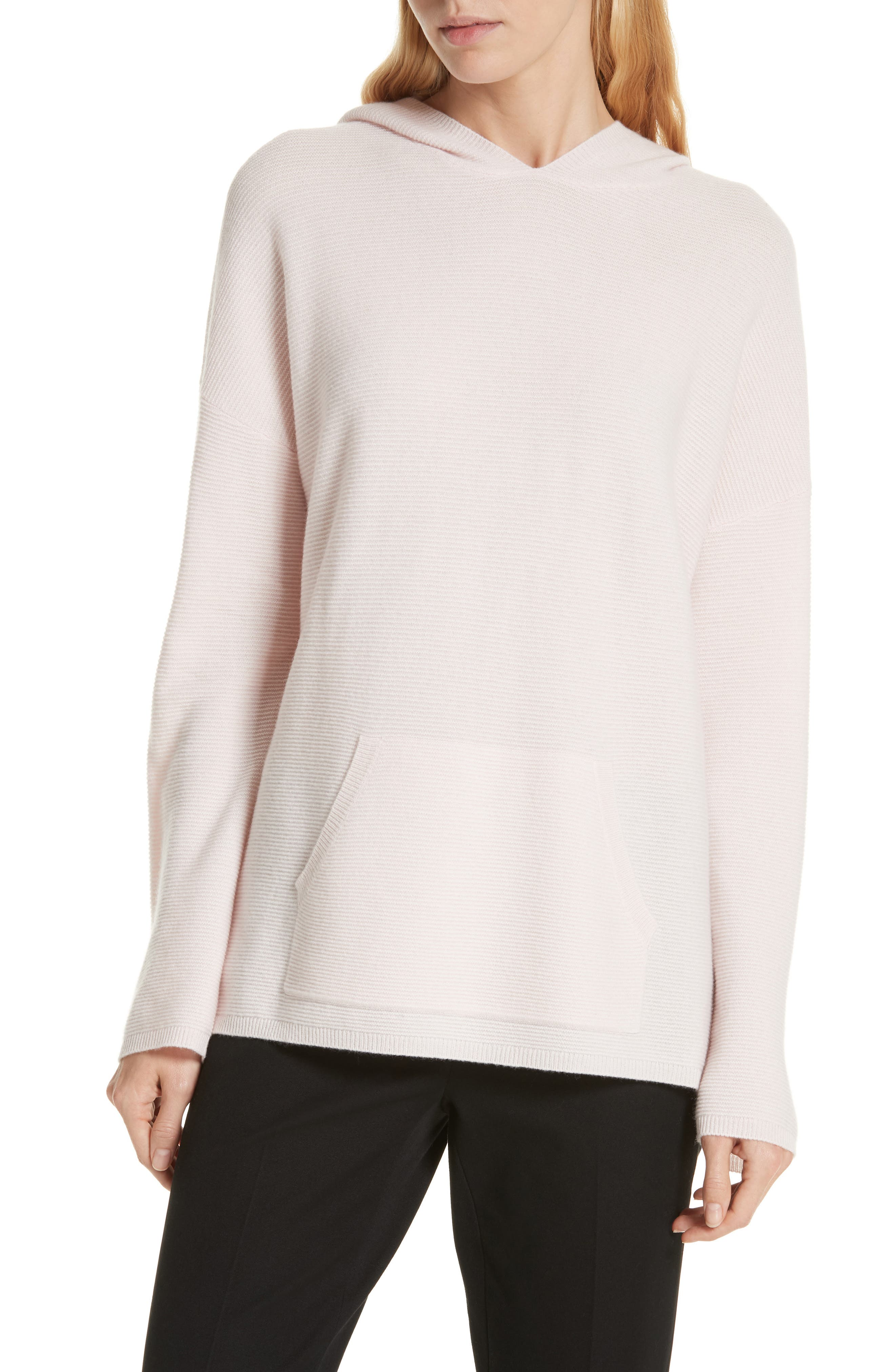 Nordstrom Signature Cashmere Pocket Hoodie Sweater, Pink