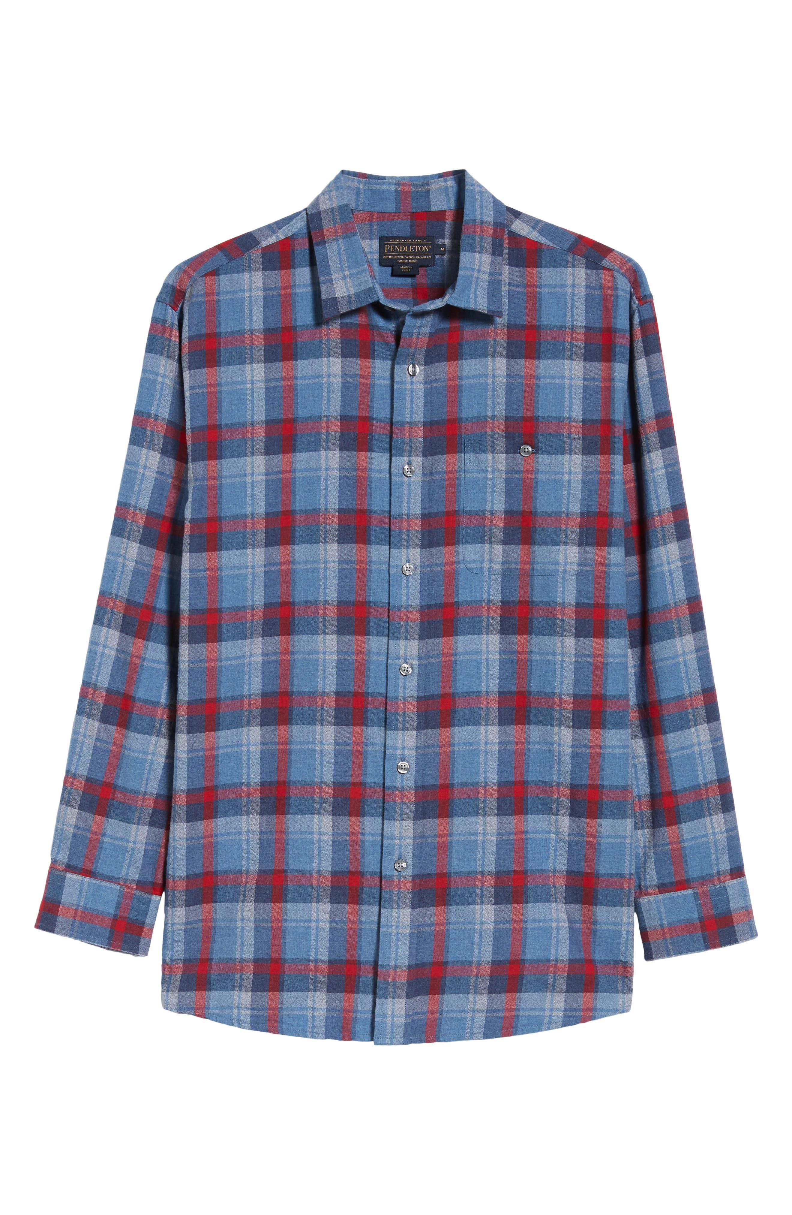 Jasper Plaid Flannel Shirt,                             Alternate thumbnail 5, color,                             410