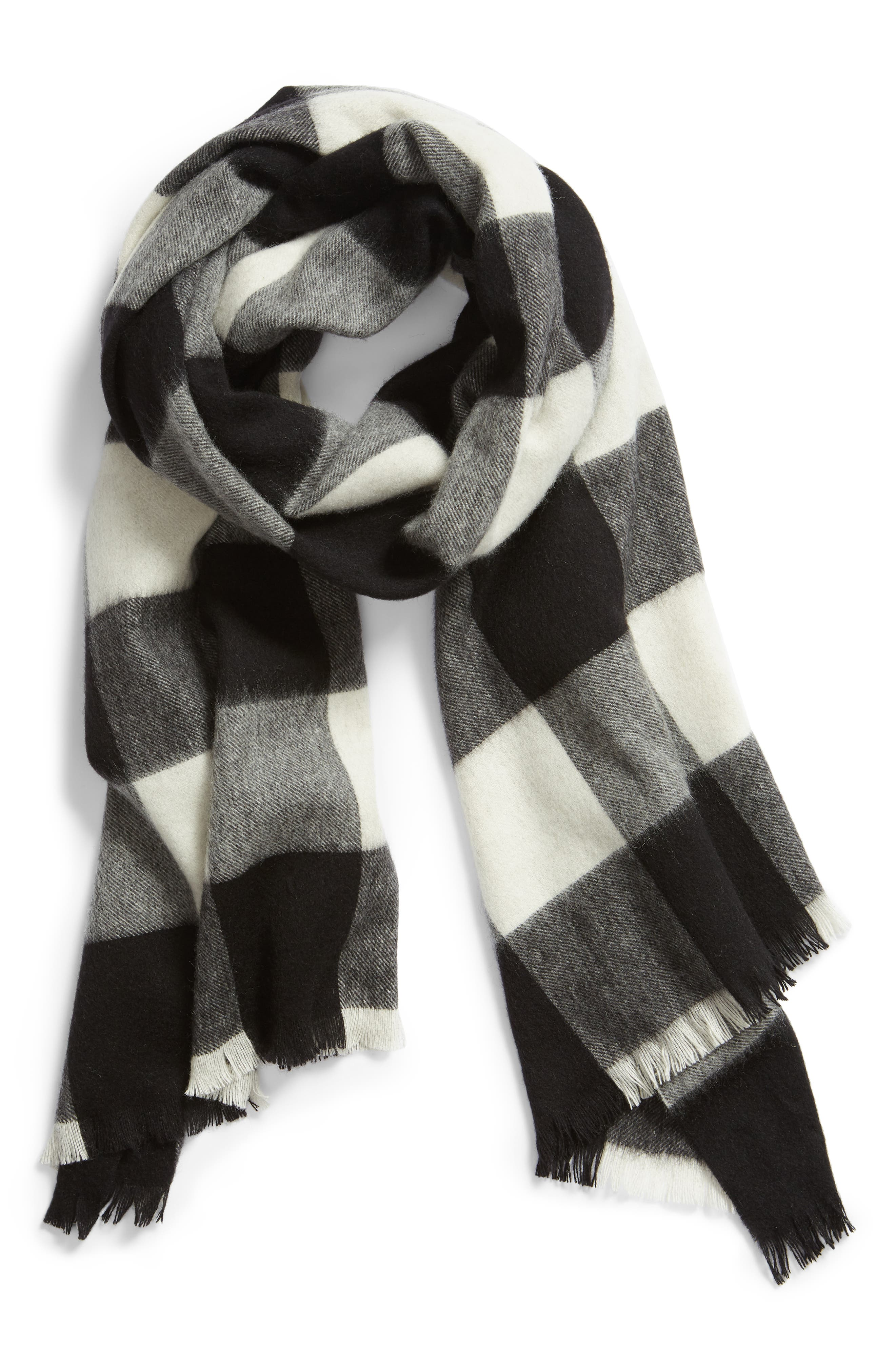 mega check wool scarf,                             Alternate thumbnail 2, color,                             CREAM/ BLACK