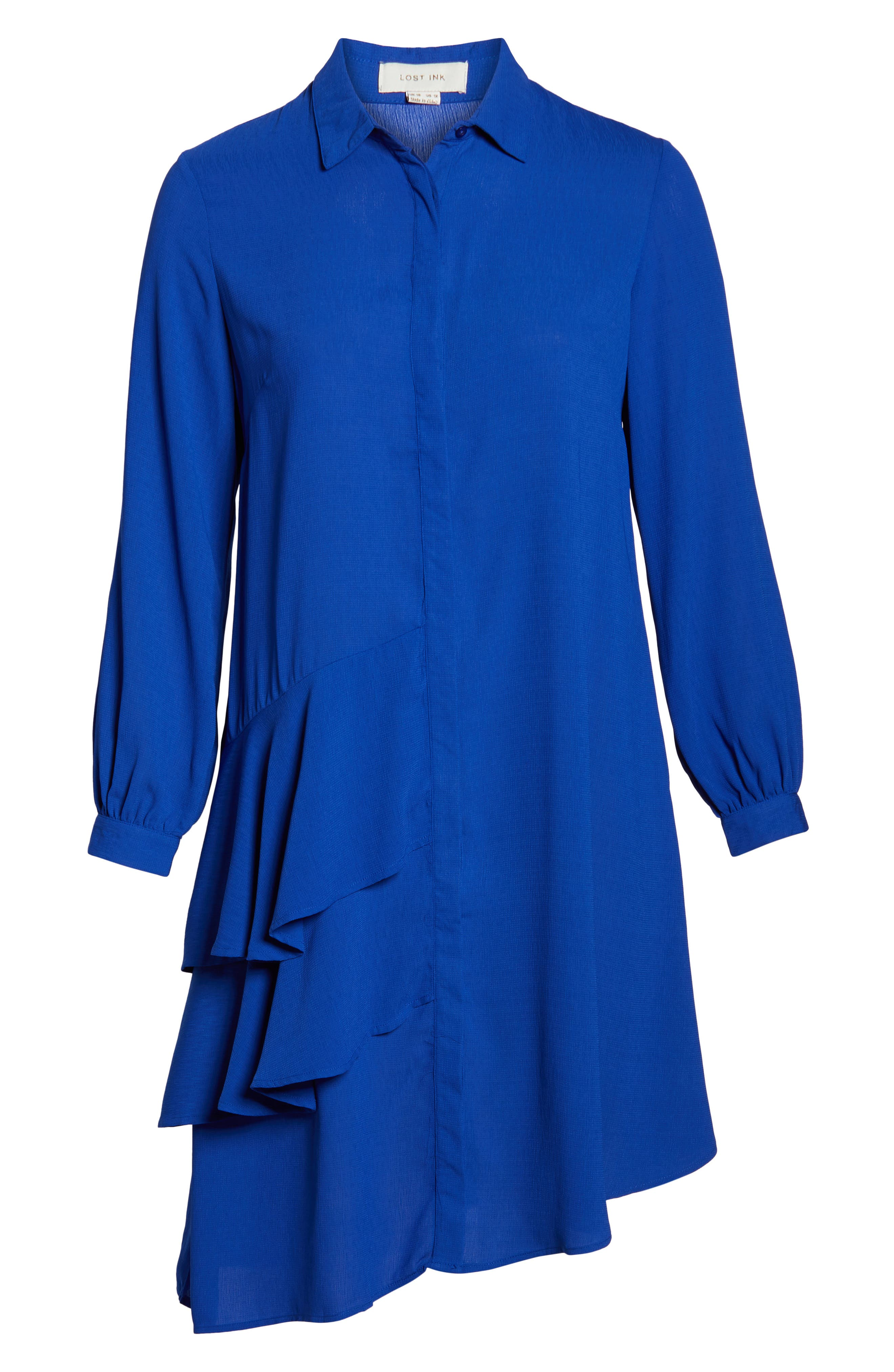 Frilly Shirtdress,                             Alternate thumbnail 7, color,                             BLUE
