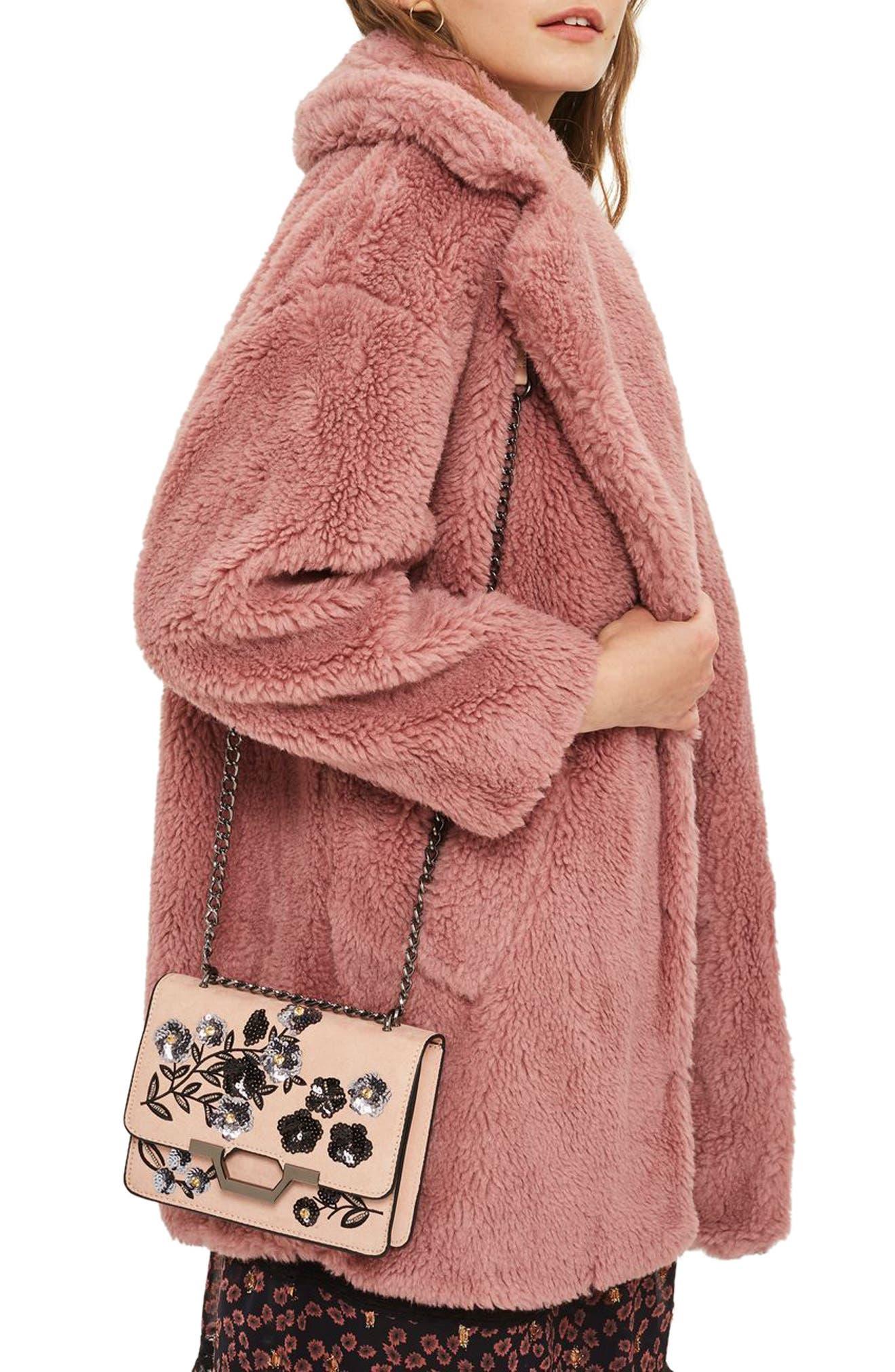Kylie Embellished Faux Suede Crossbody Bag,                             Alternate thumbnail 4, color,
