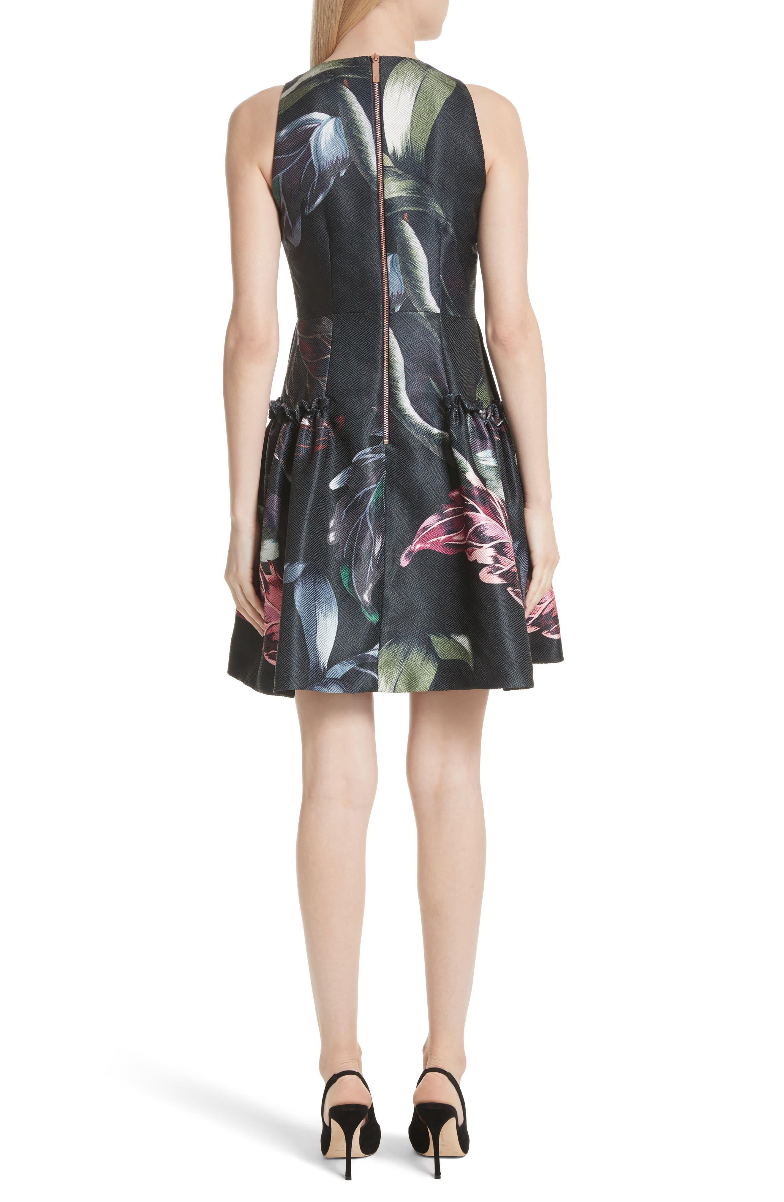 Sarahe Floral Fit & Flare Dress,                             Alternate thumbnail 2, color,                             001