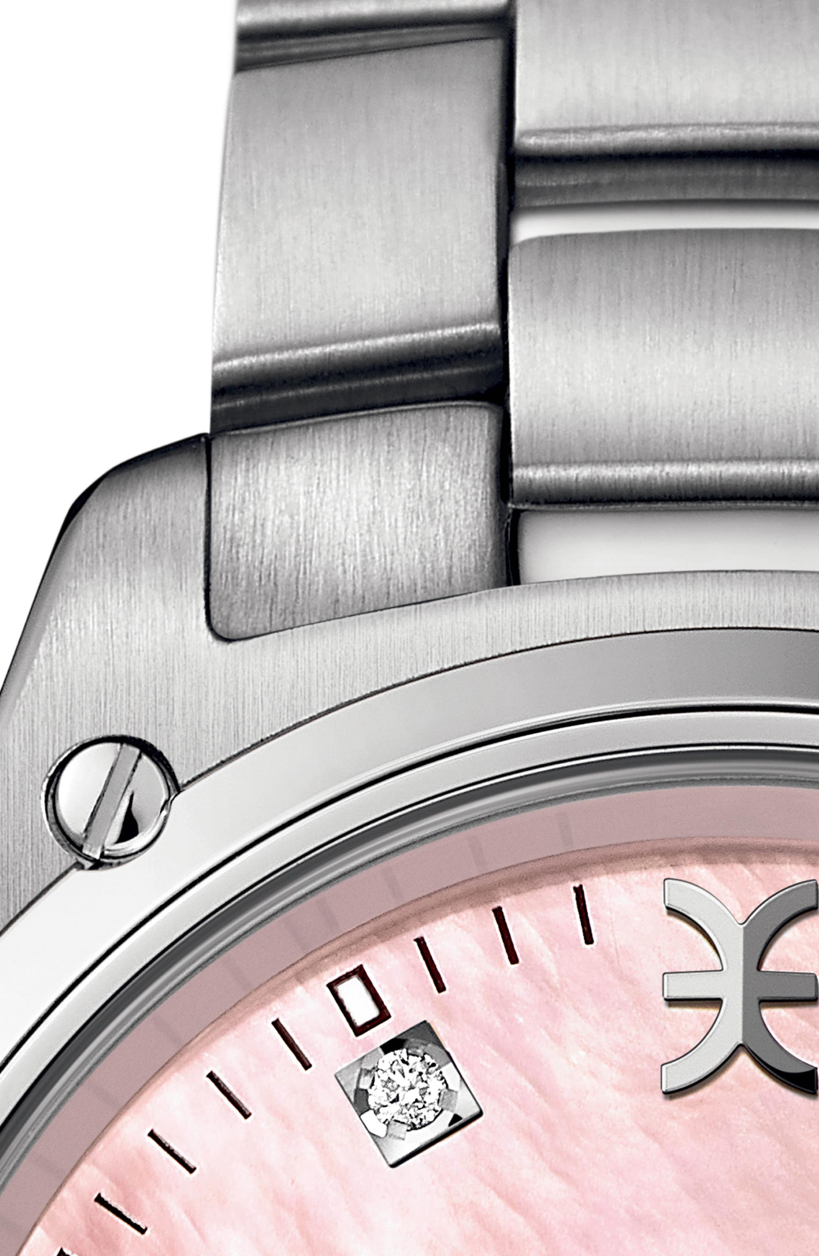 Discovery Diamond Bracelet Watch, 33mm,                             Alternate thumbnail 2, color,                             SILVER/ PINK MOP/ SILVER