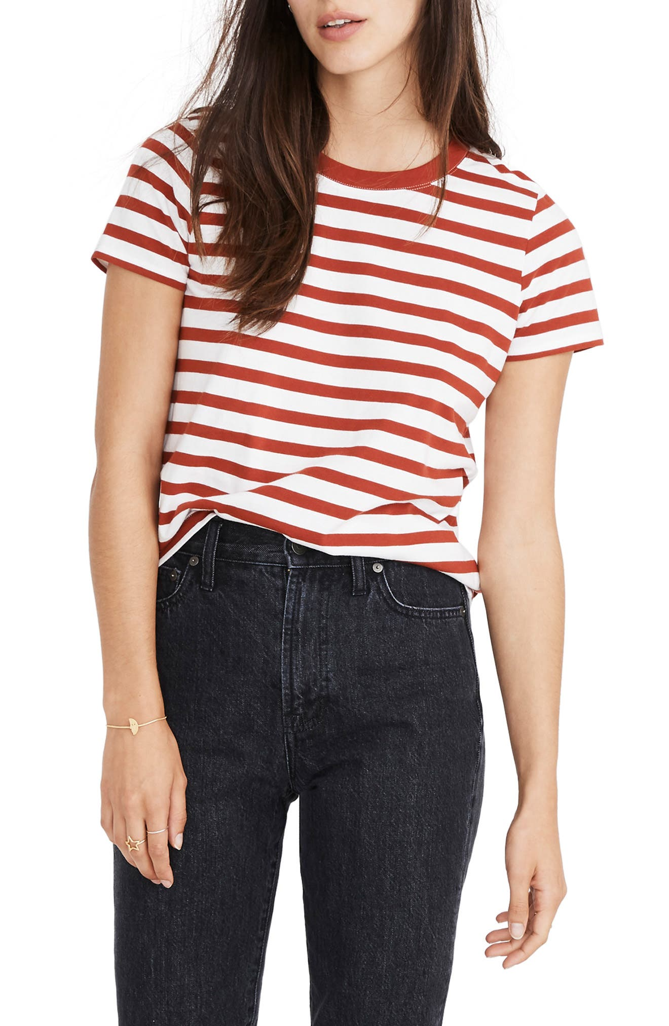 1940s Blouses, Shirts and Tops Fashion History Womens Madewell Northside Vintage Stripe Tee $18.50 AT vintagedancer.com