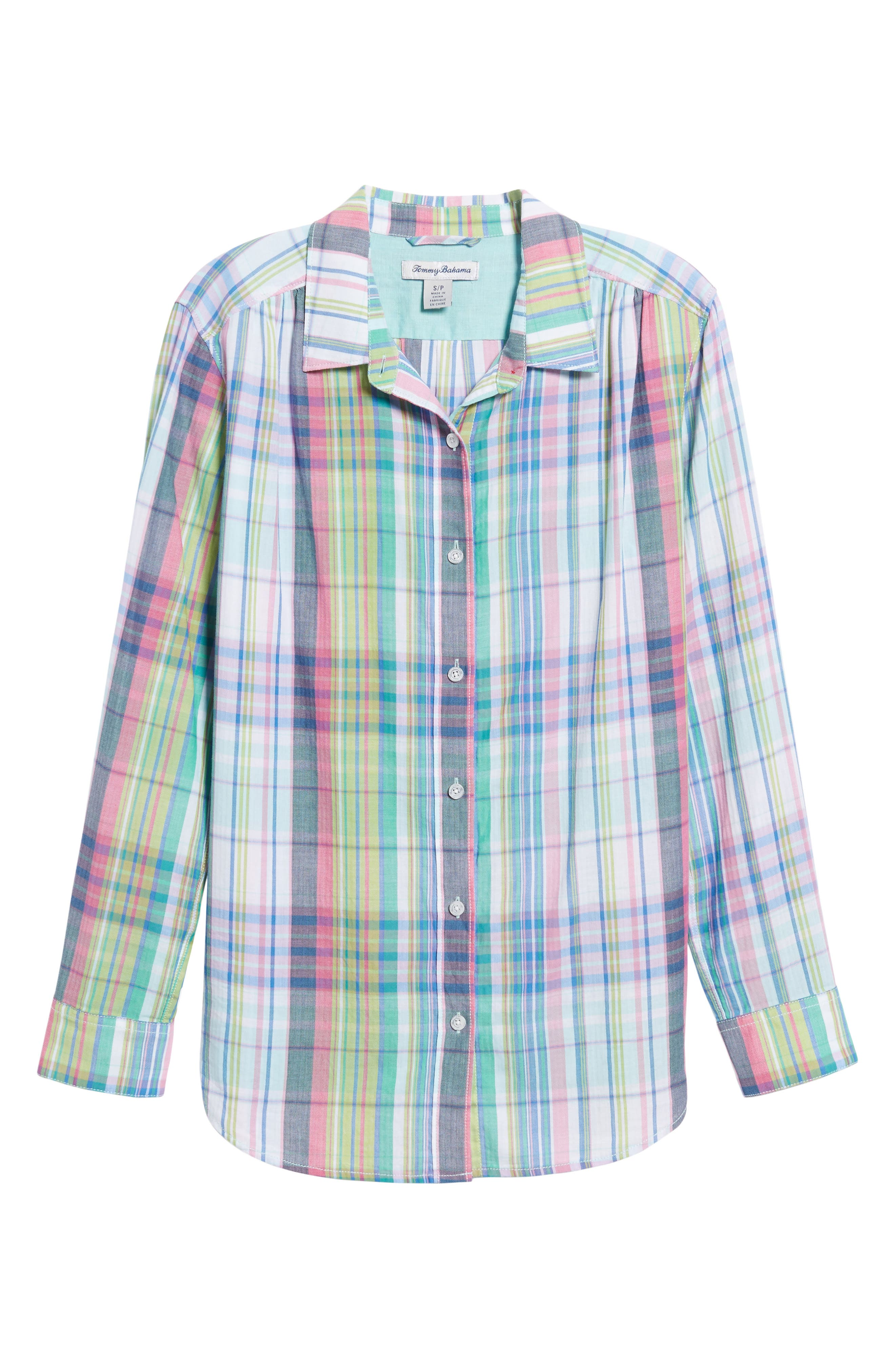 Muffy Madras Button-Up Top,                             Alternate thumbnail 6, color,                             650