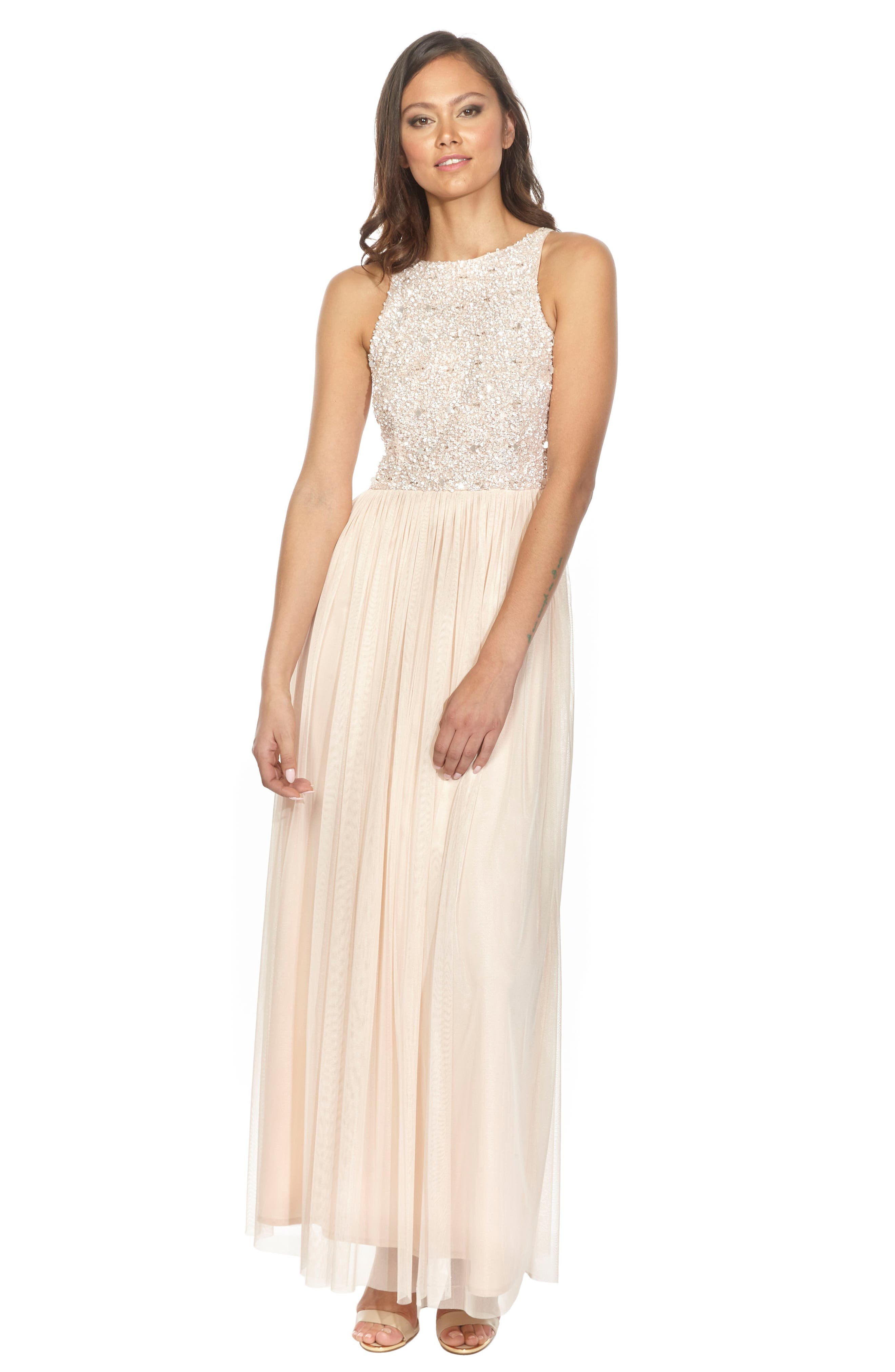 Picasso Embellished Bodice Maxi Dress,                             Alternate thumbnail 5, color,                             NUDE