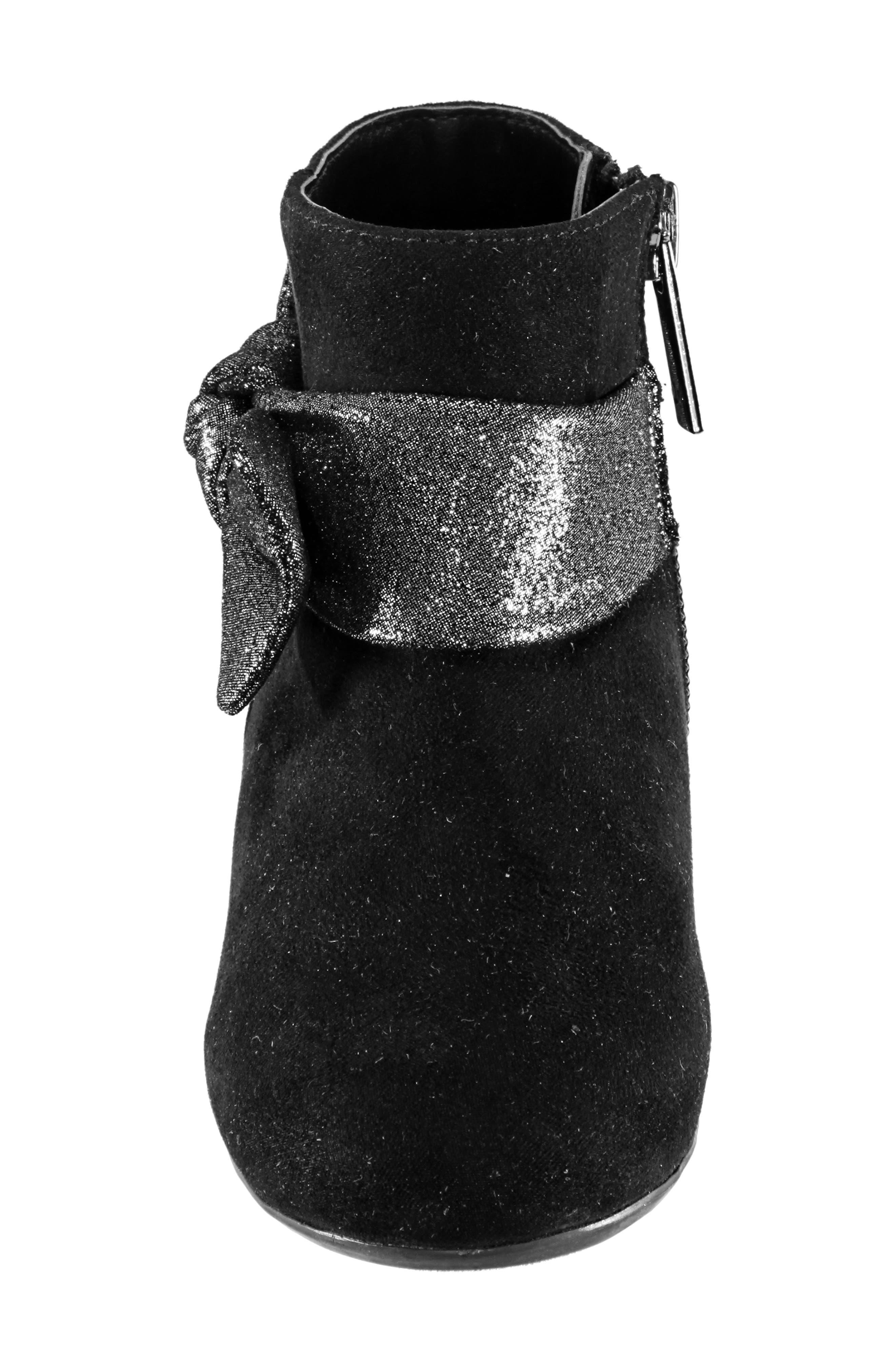 Evelin Block Heel Bootie,                             Alternate thumbnail 4, color,                             BLACK MICRO SUEDE