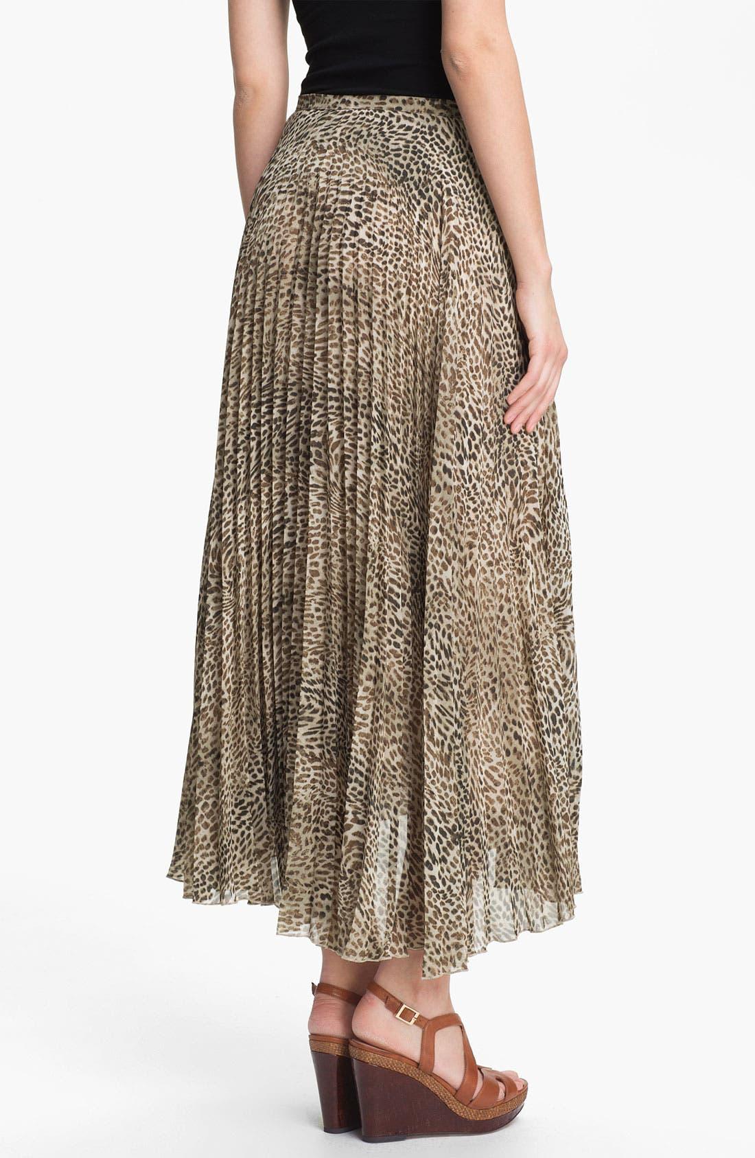 Cheetah Print Crystal Pleat Midi Skirt,                             Alternate thumbnail 3, color,                             271