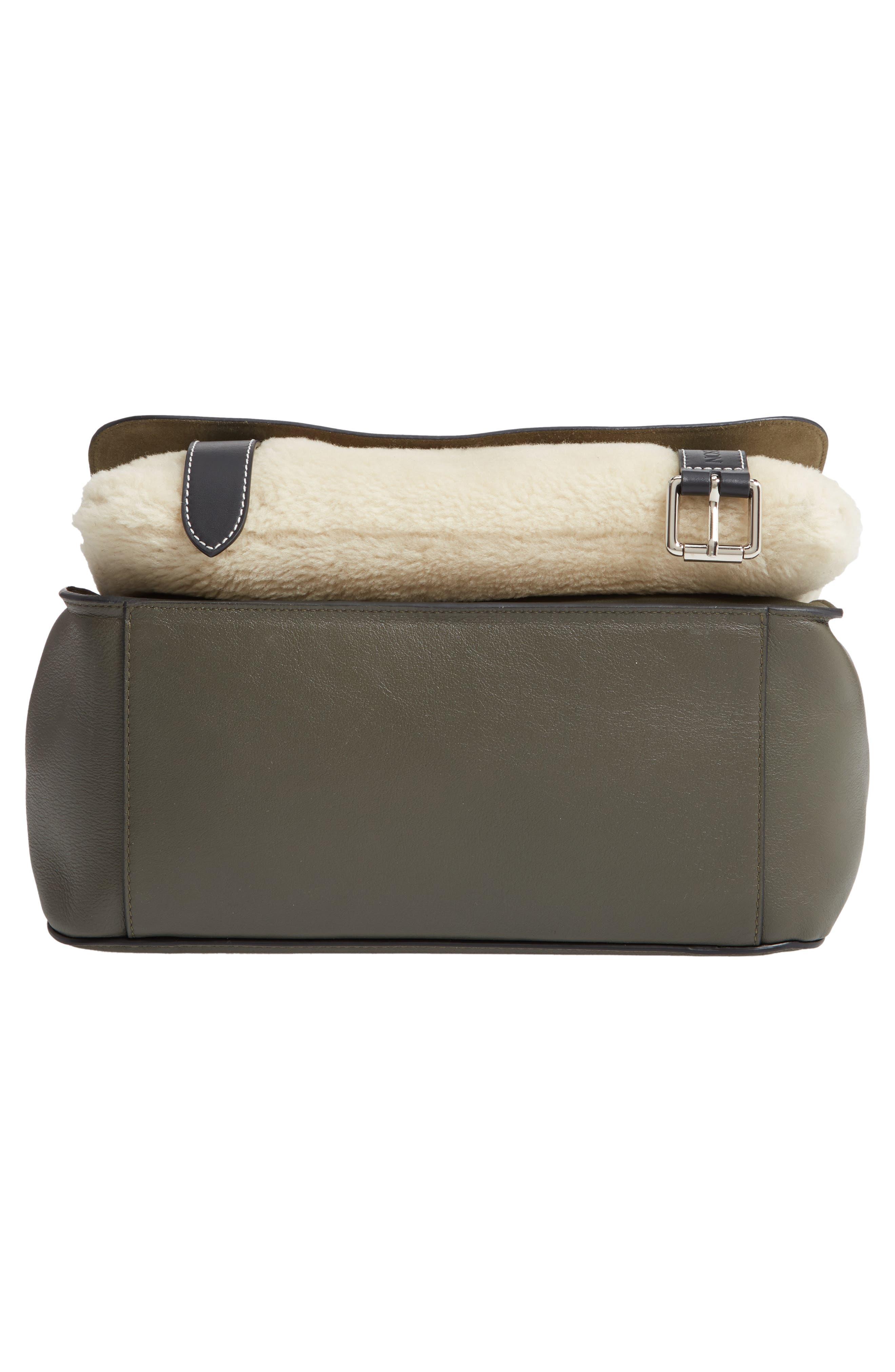 JW ANDERSON,                             Large Disc Leather & Genuine Shearling Satchel,                             Alternate thumbnail 6, color,                             KHAKI