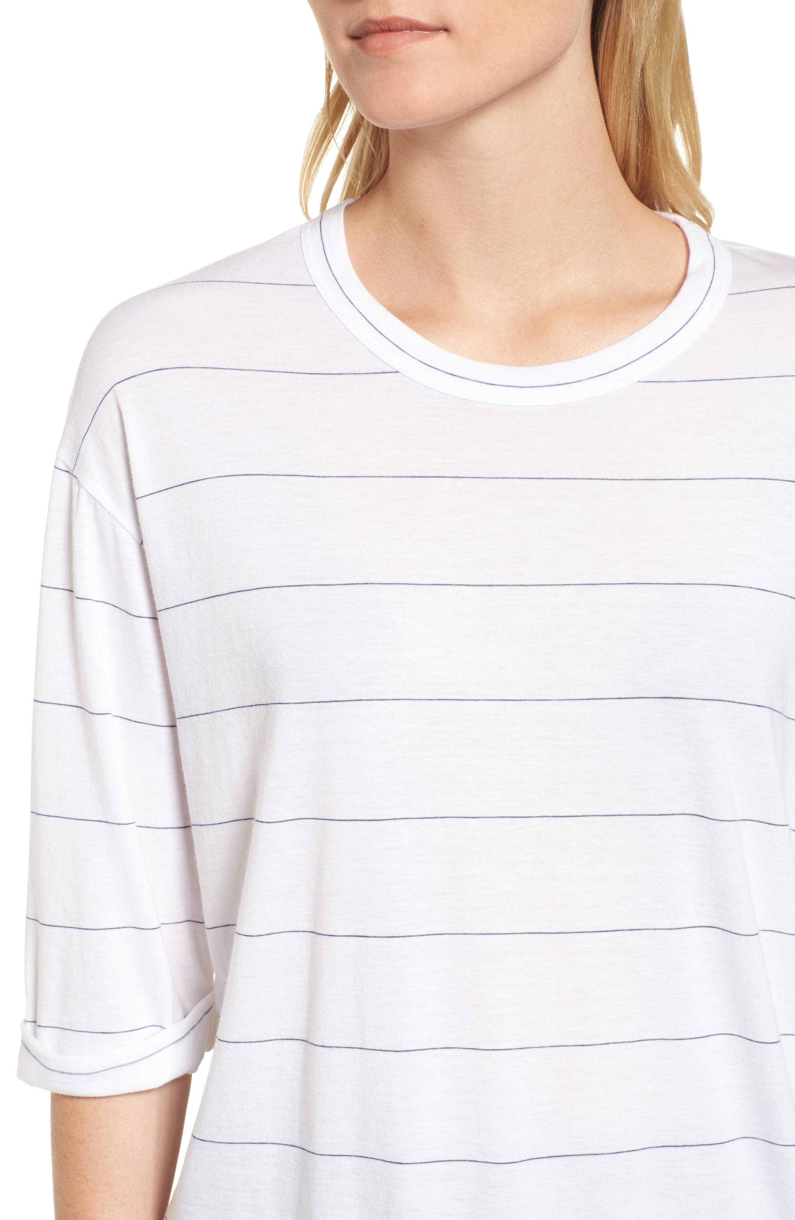 Stripe Relaxed Tee,                             Alternate thumbnail 4, color,                             100