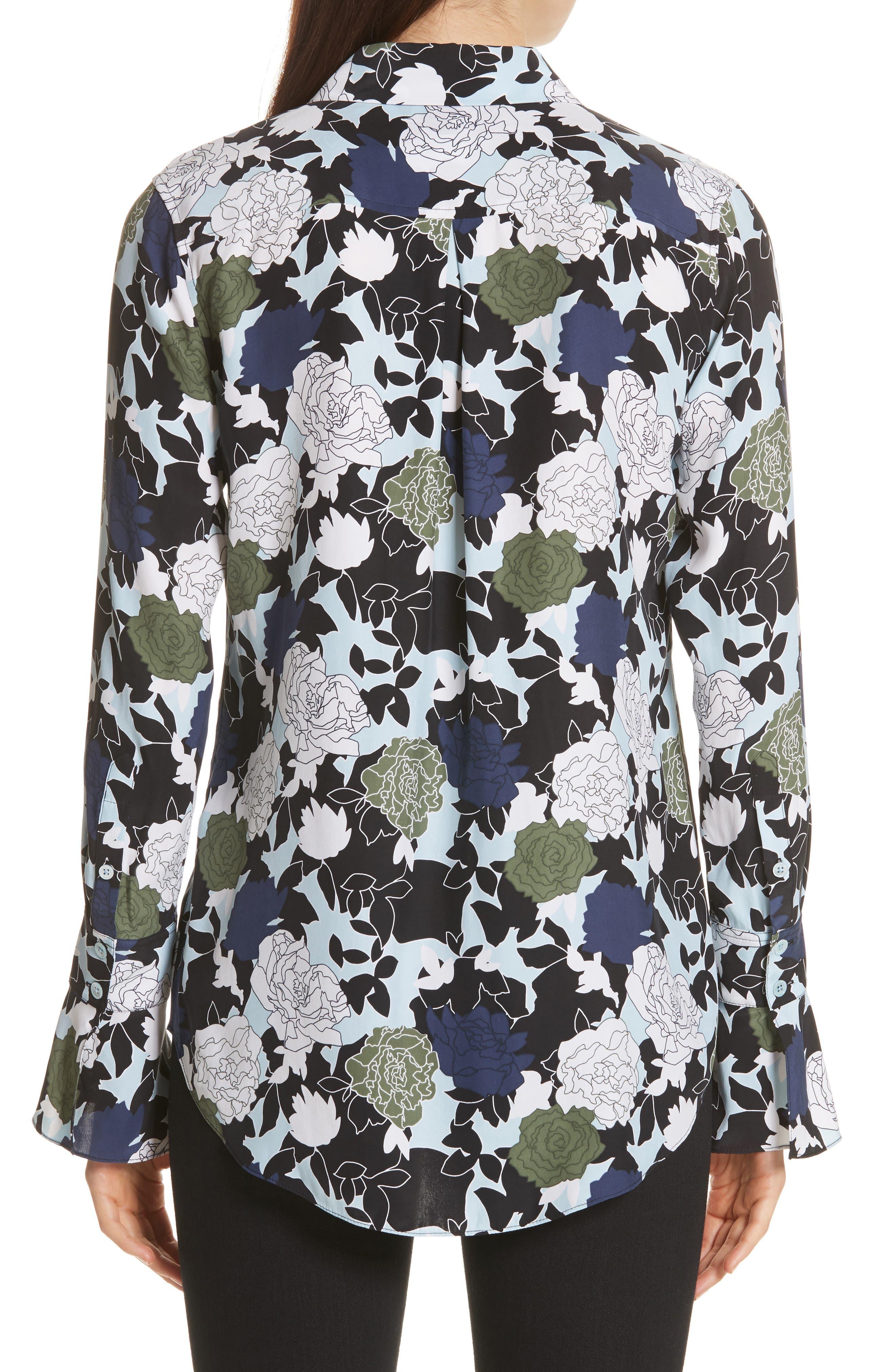 Daphne Floral Silk Shirt,                             Alternate thumbnail 2, color,                             COOL BREEZE MULTI