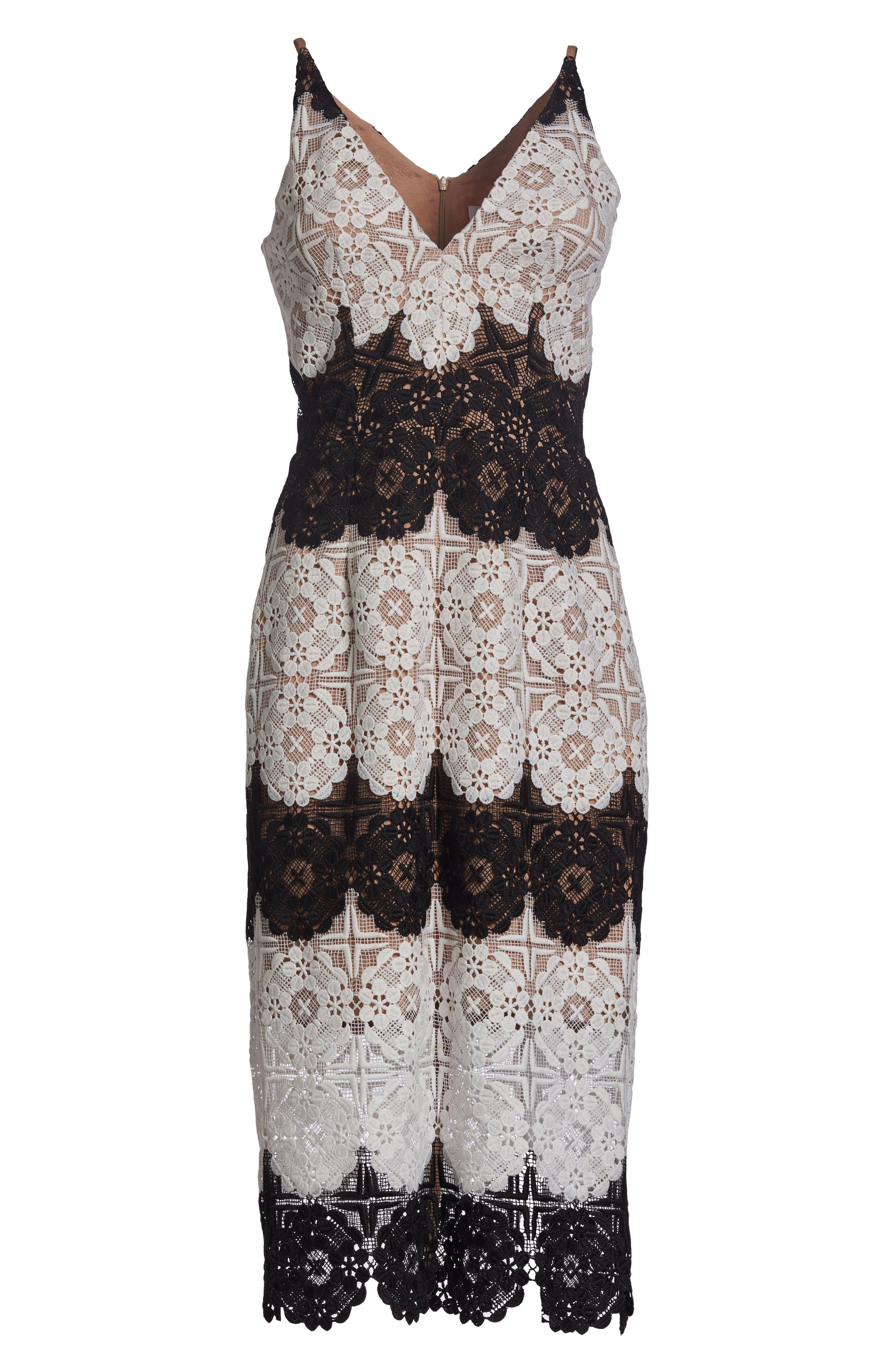 Vera Crochet Stripe Sheath Dress,                             Alternate thumbnail 7, color,                             011