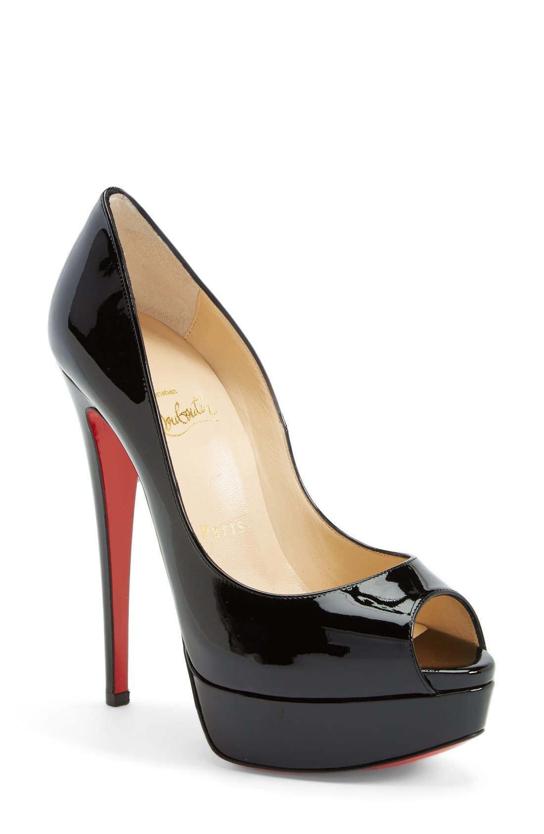 CHRISTIAN LOUBOUTIN,                             'Lady Peep' Open Toe Pump,                             Main thumbnail 1, color,                             002