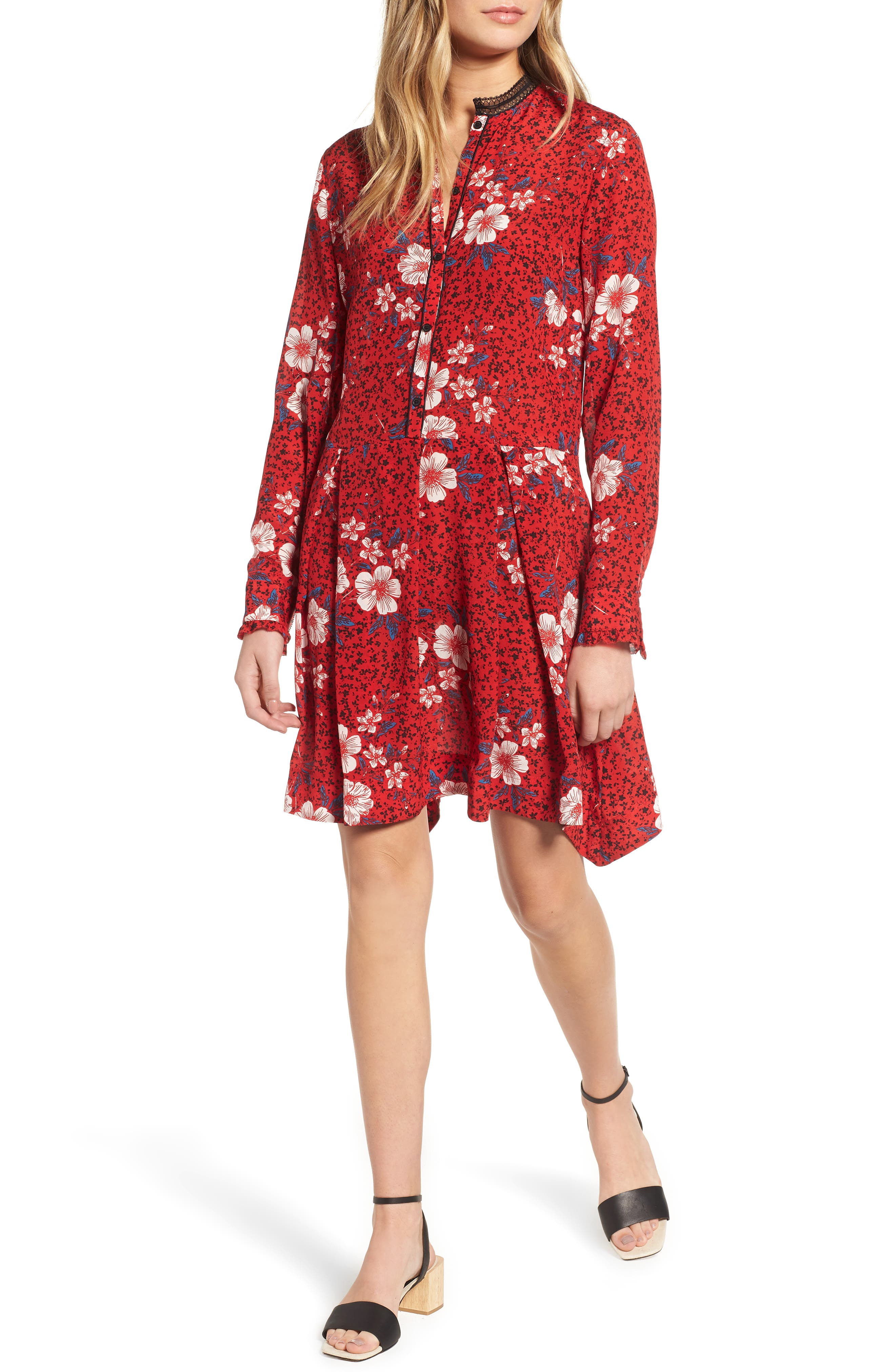 ZADIG & VOLTAIRE,                             Ruti Pensee Double Floral Silk Dress,                             Main thumbnail 1, color,                             648