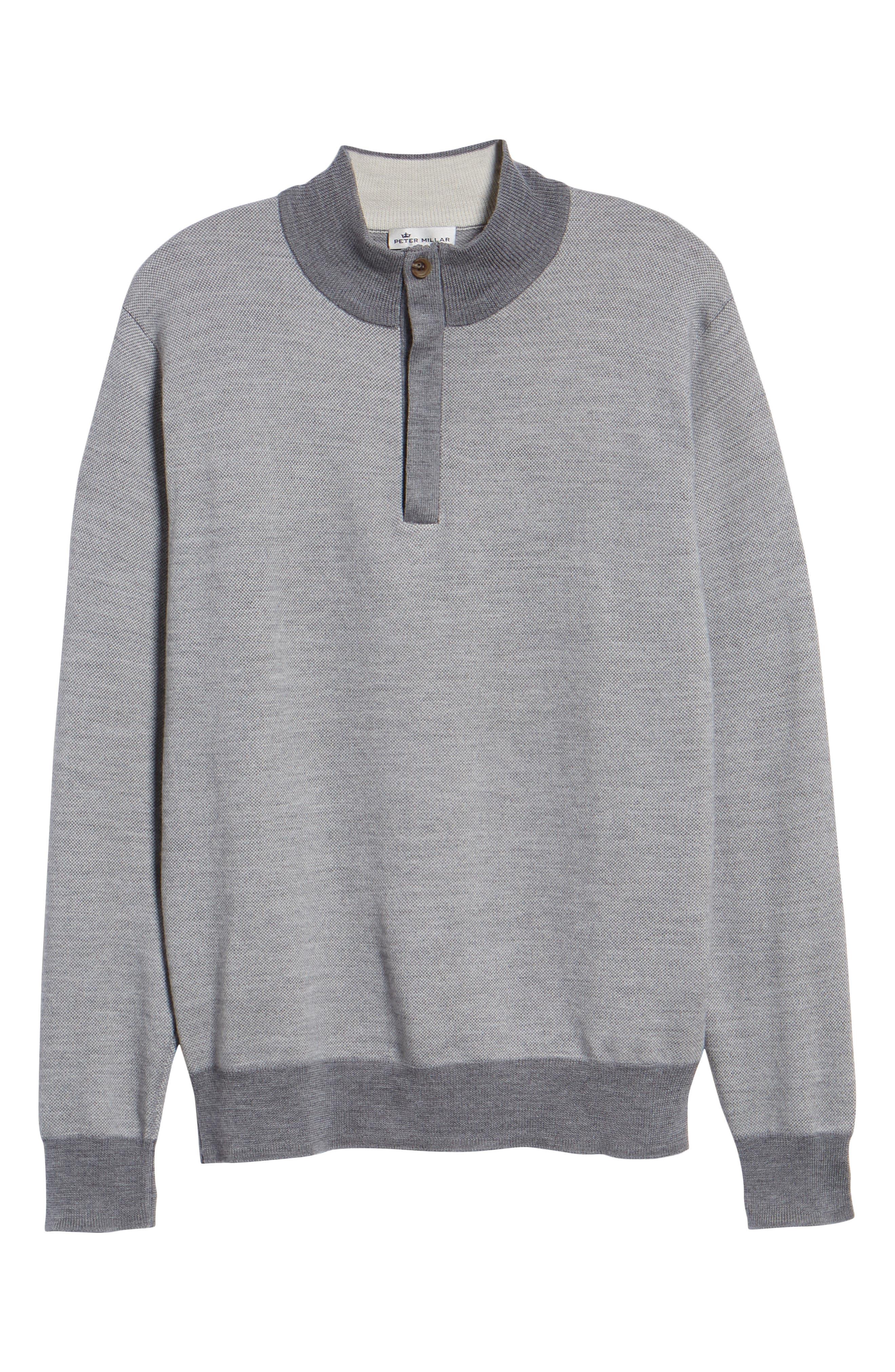 Birdseye Merino Wool Quarter Zip Sweater,                             Alternate thumbnail 6, color,                             BRITISH GREY