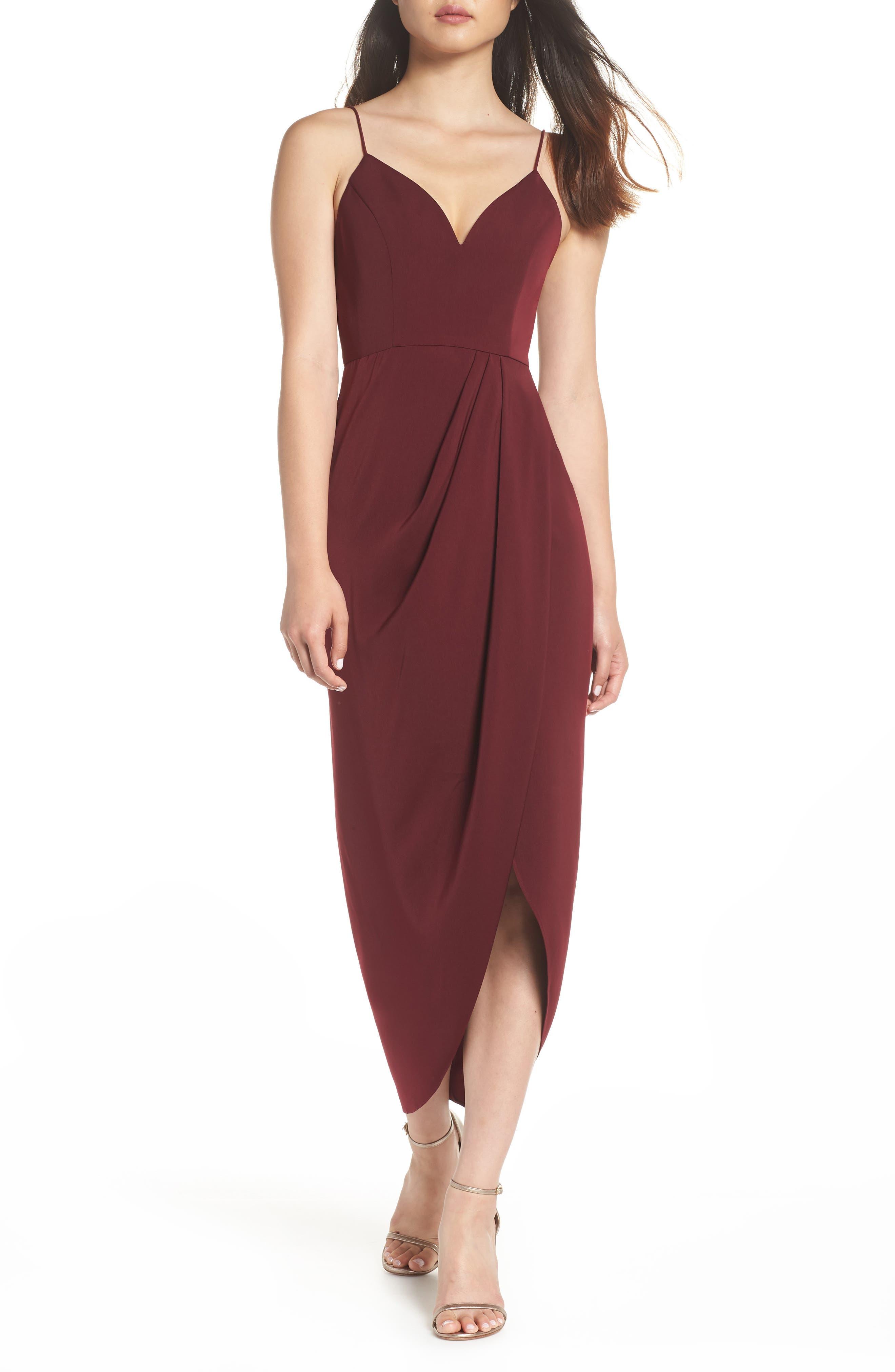 SHONA JOY Tulip Hem Maxi Dress in Burgundy