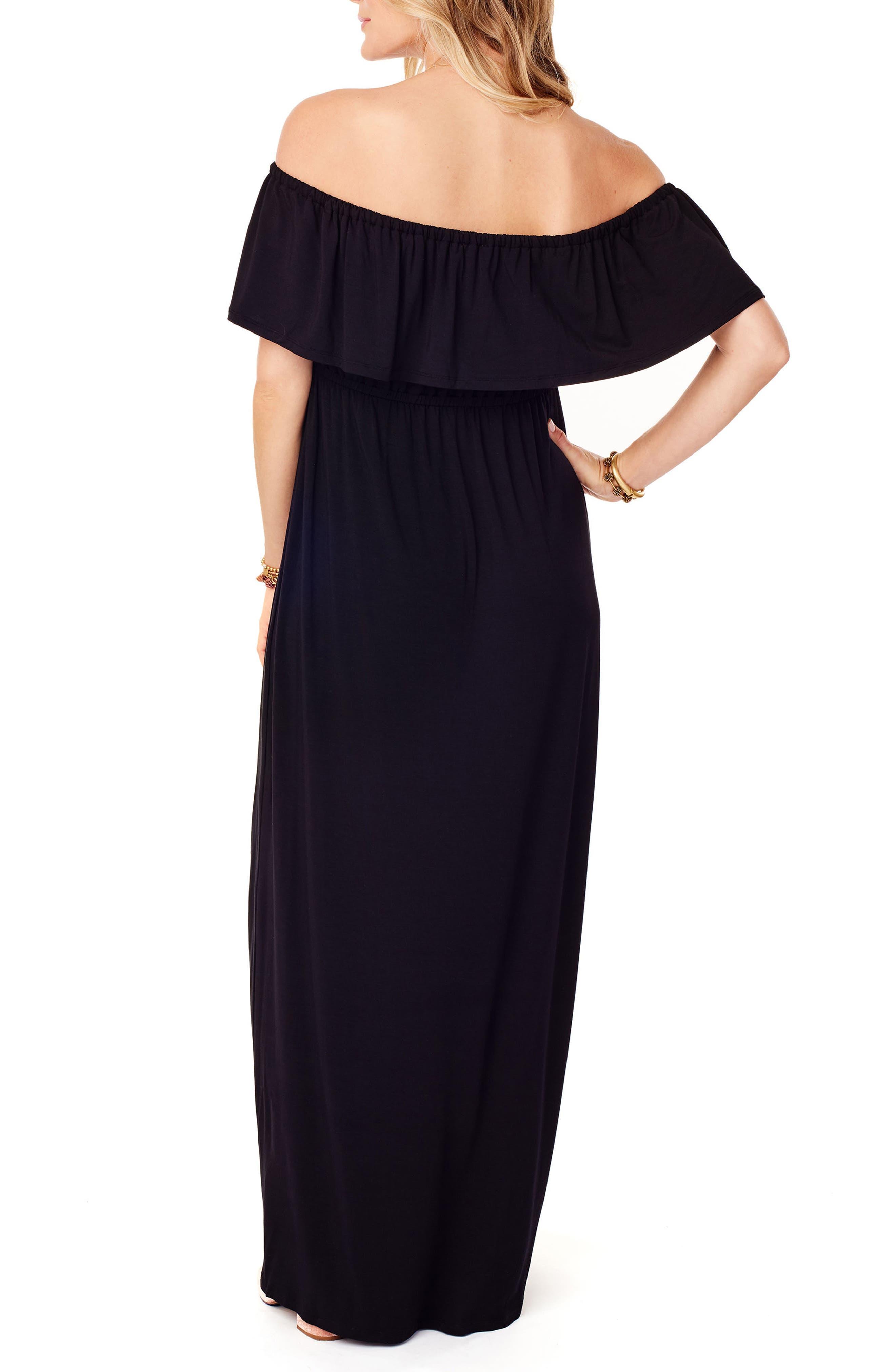 Off the Shoulder Maternity Maxi Dress,                             Alternate thumbnail 2, color,                             JET BLACK
