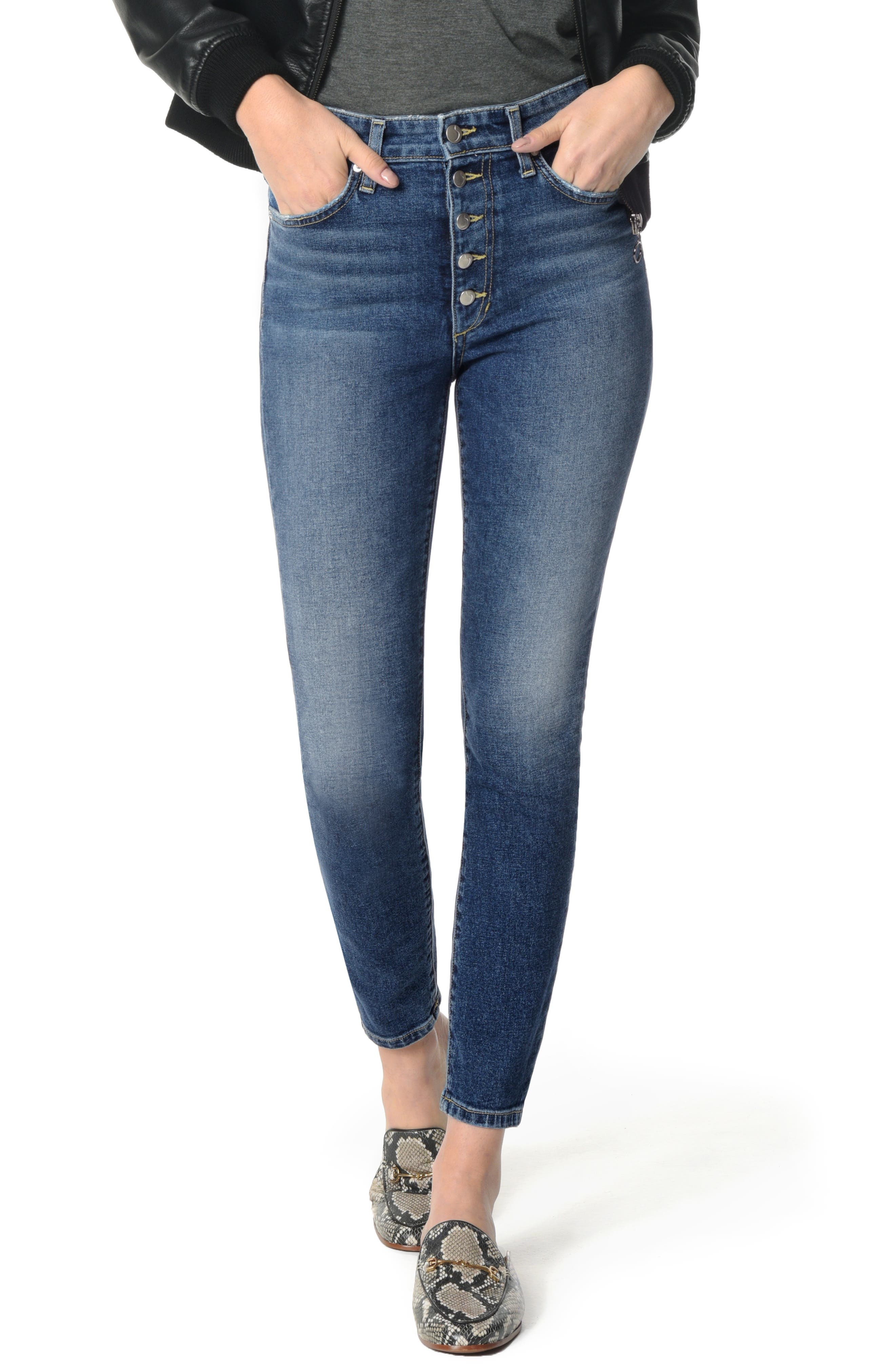 Charlie High Waist Ankle Skinny Jeans,                             Main thumbnail 1, color,                             PAYTON