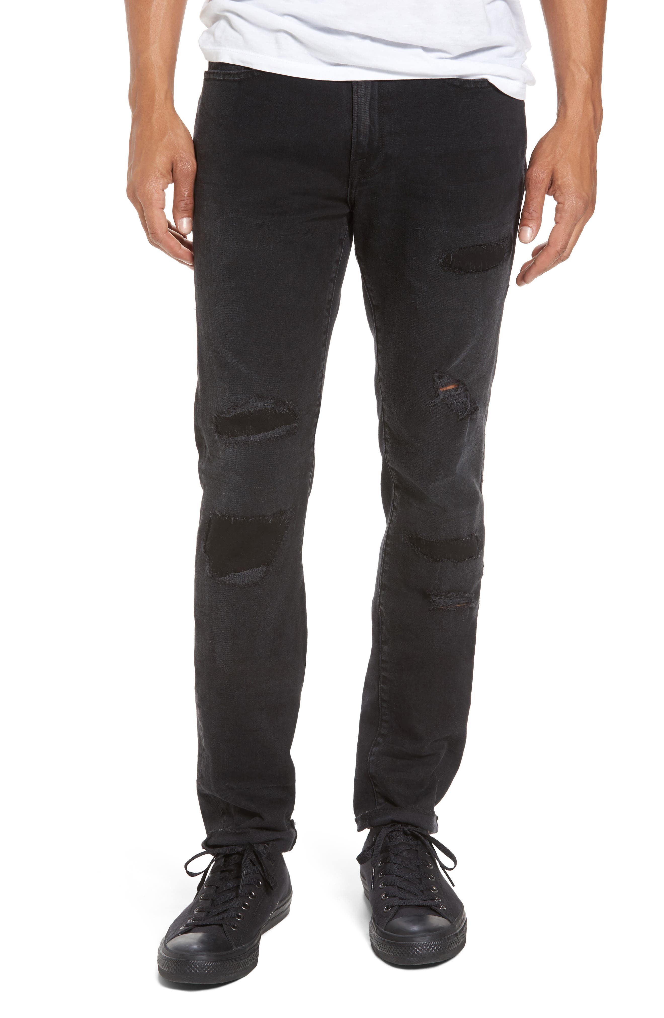 L'Homme Skinny Fit Jeans,                             Main thumbnail 1, color,                             001