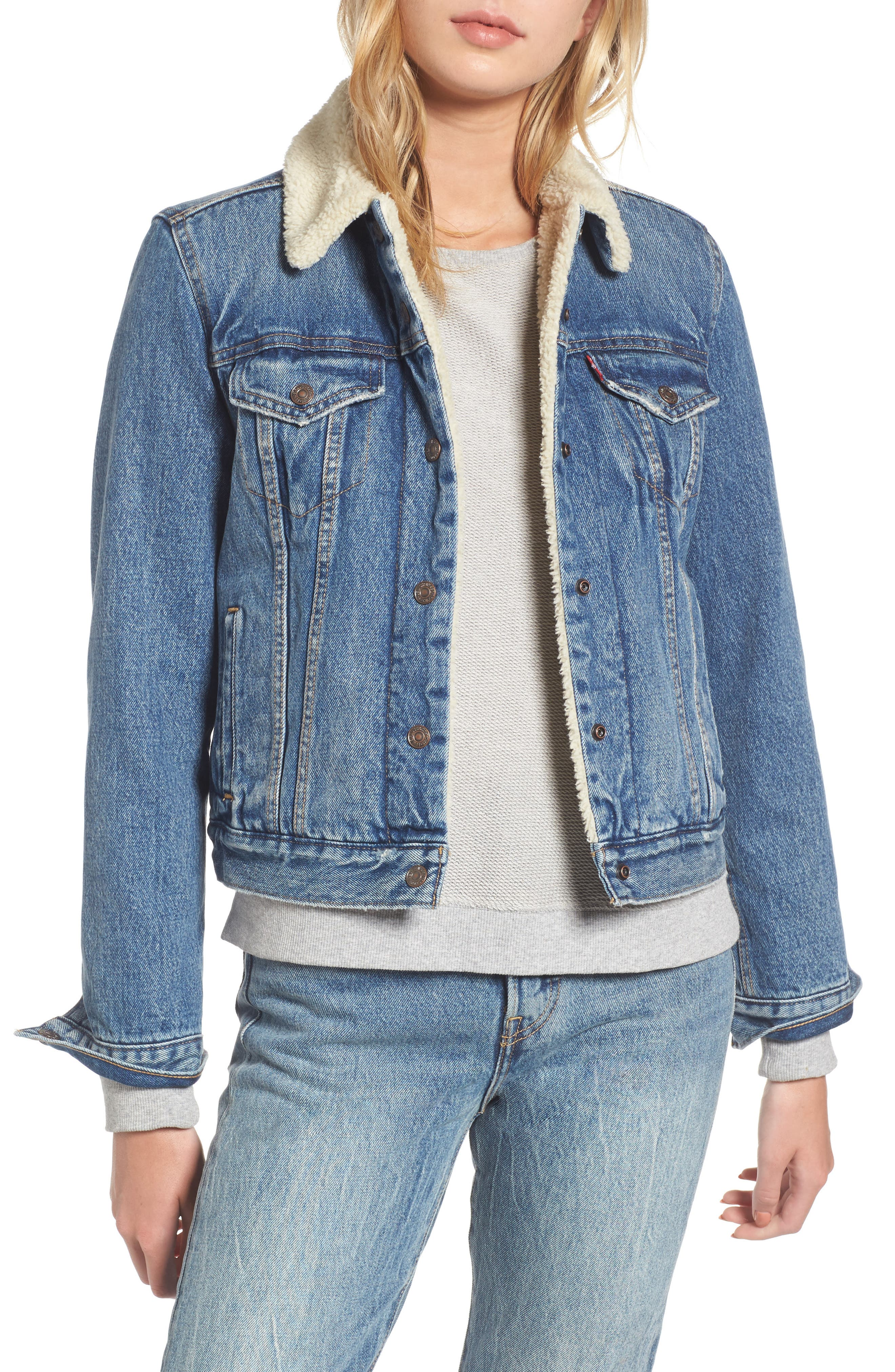 Faux Shearling Lined Denim Trucker Jacket,                         Main,                         color, 450