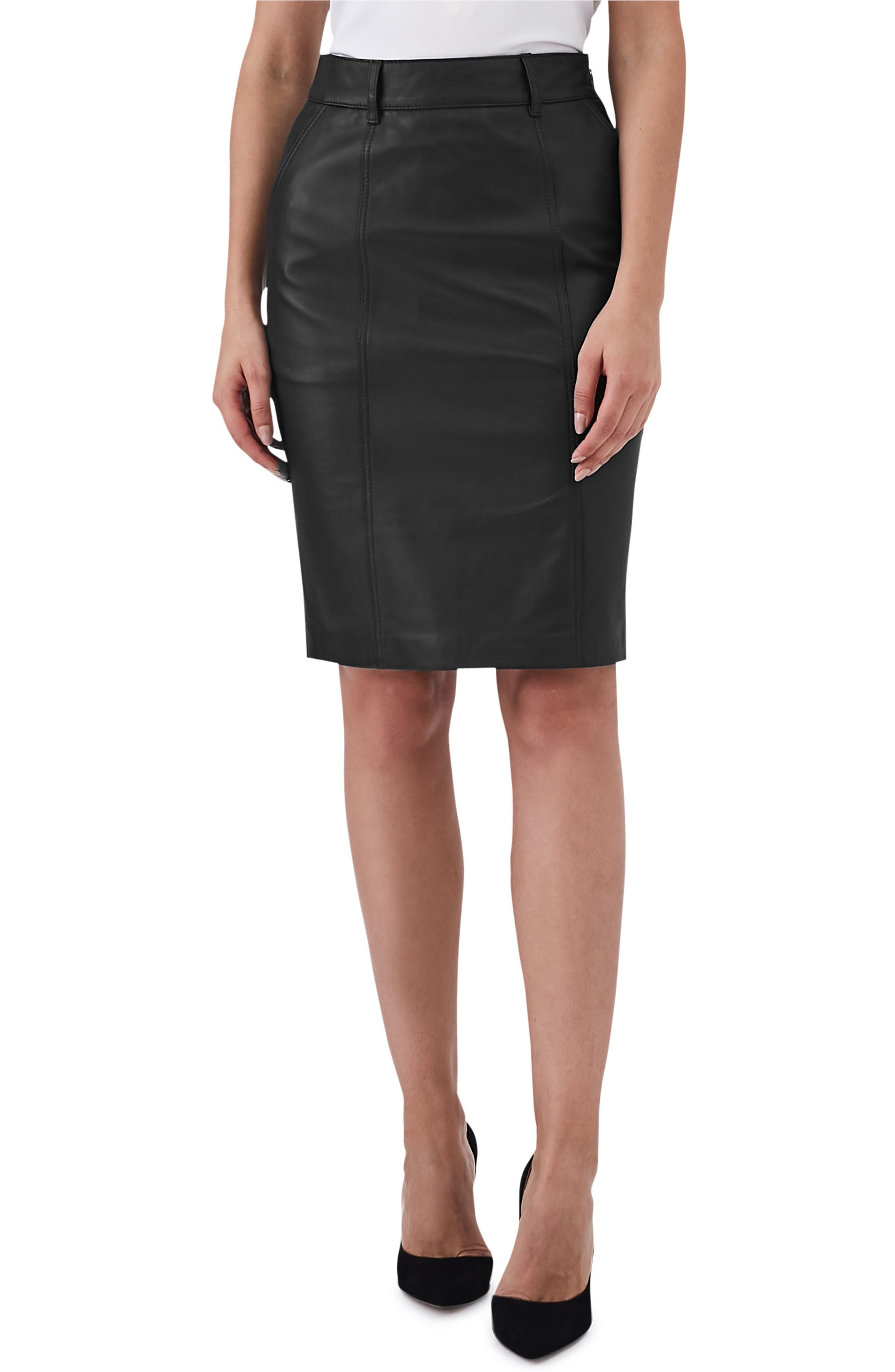 Kara Leather Pencil Skirt,                         Main,                         color, BLACK